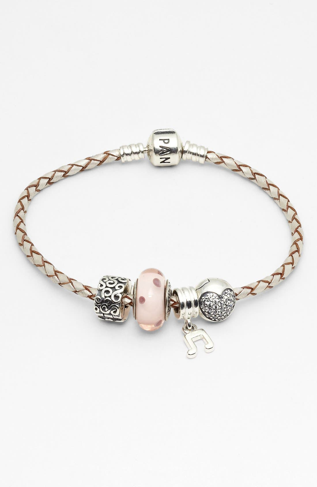 PANDORA Leather Bracelet & Charms, Main, color, 045