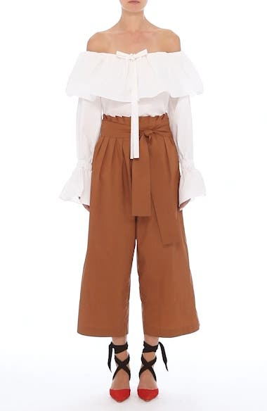 Wide Leg Belted Paperbag Pants, video thumbnail