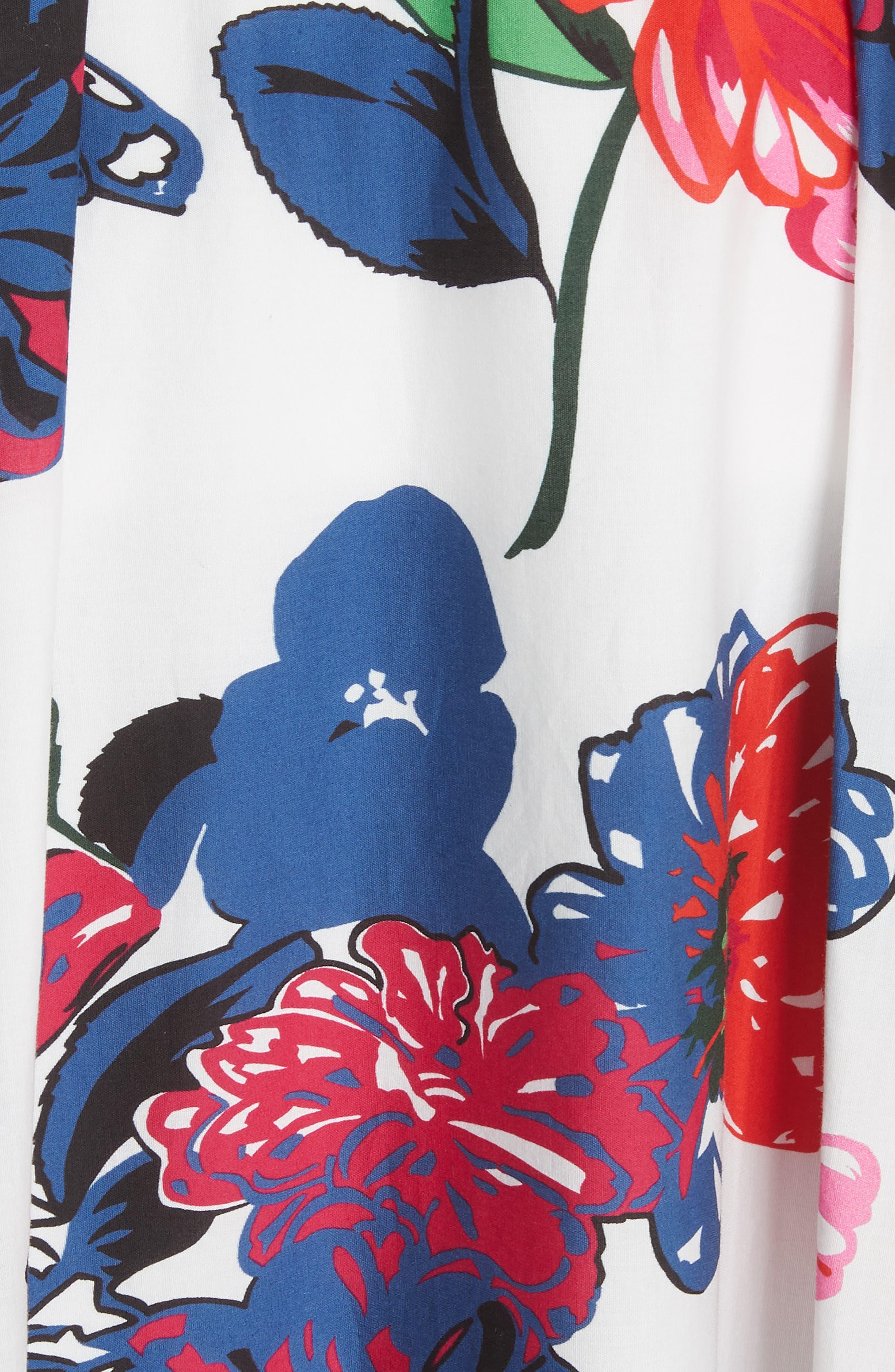 Floral Print Stretch Cotton Skirt,                             Alternate thumbnail 5, color,                             164