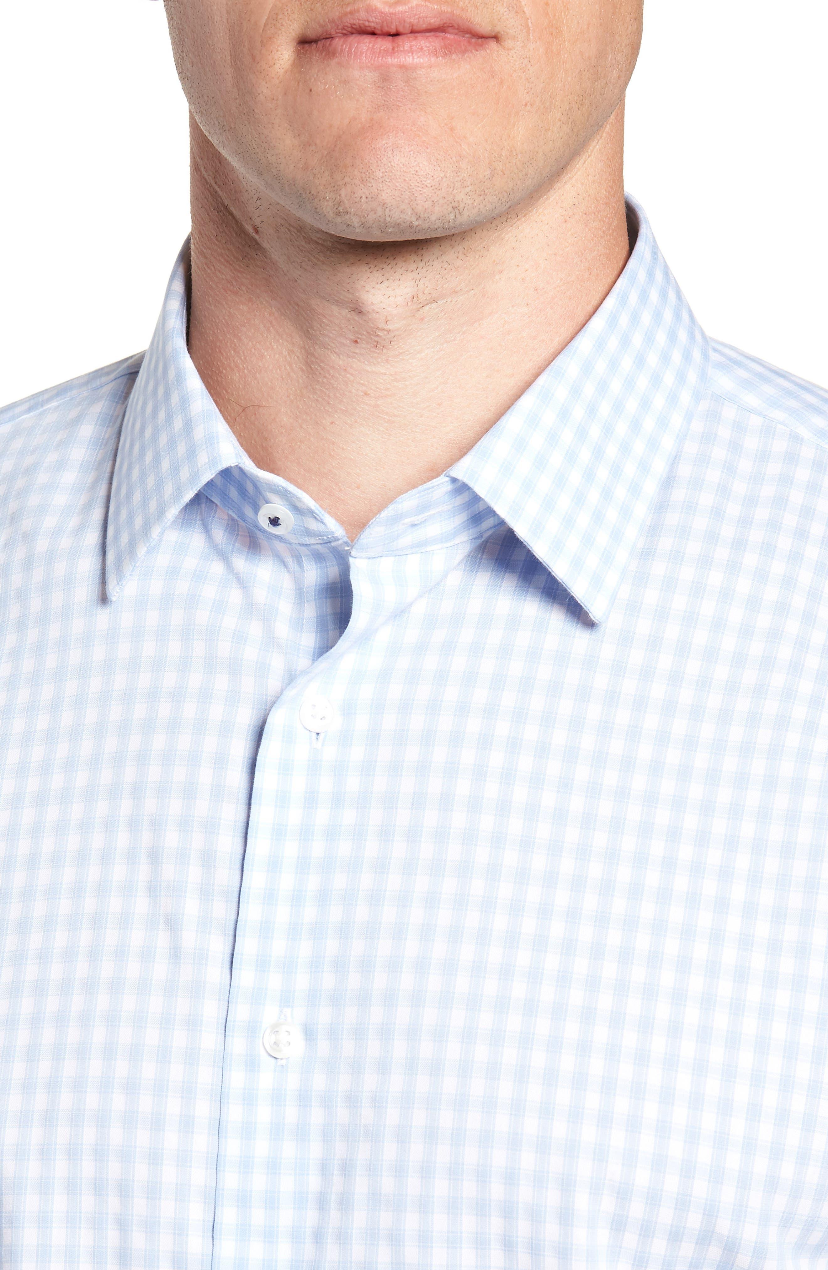 Tech-Smart Trim Fit Stretch Check Dress Shirt,                             Alternate thumbnail 2, color,                             BLUE BRUNNERA