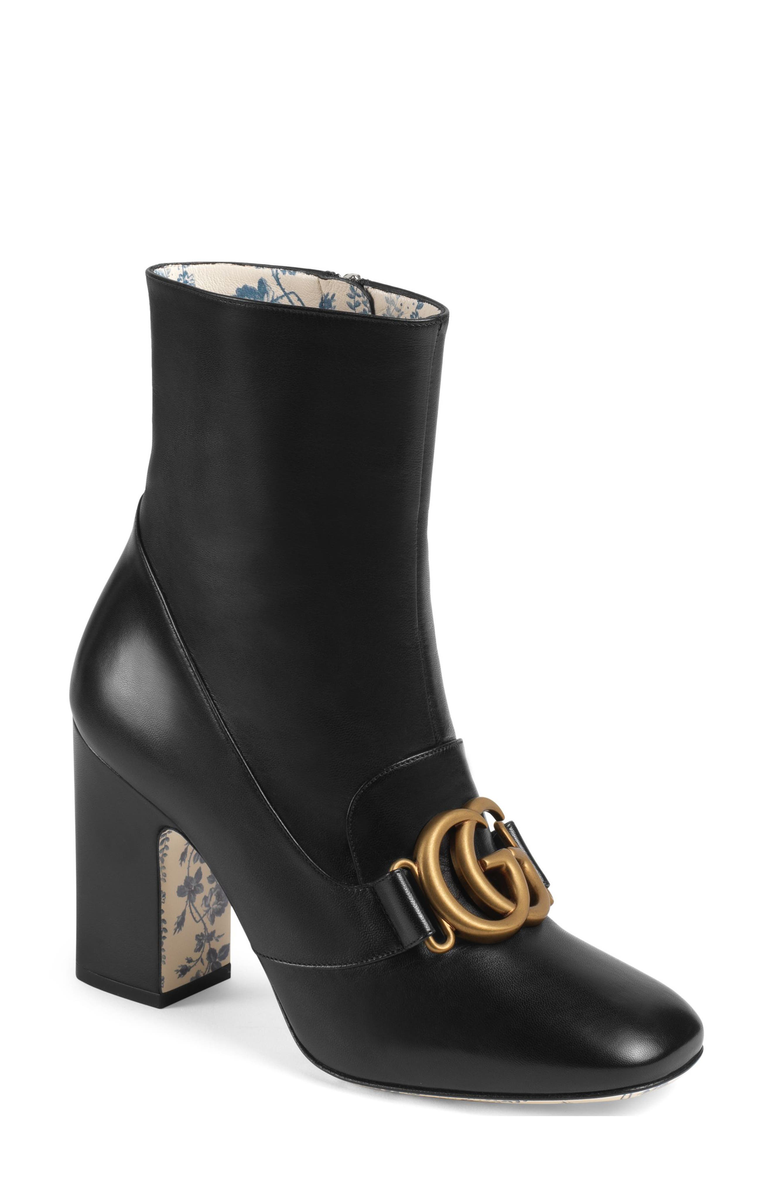 Victoire Bootie,                             Main thumbnail 1, color,                             BLACK LEATHER