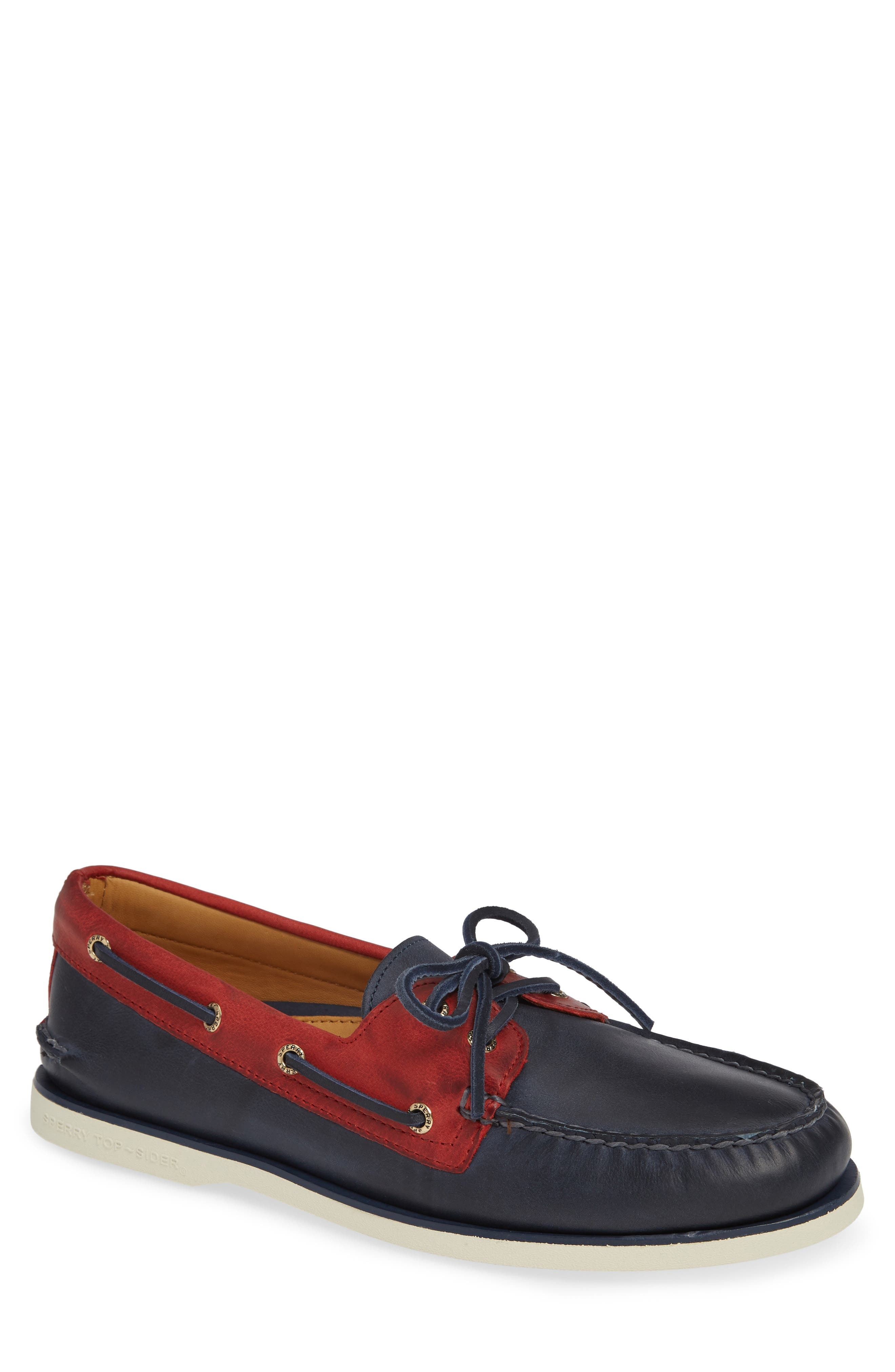 Gold Cup AO Boat Shoe,                             Main thumbnail 1, color,                             NAVY/ RED