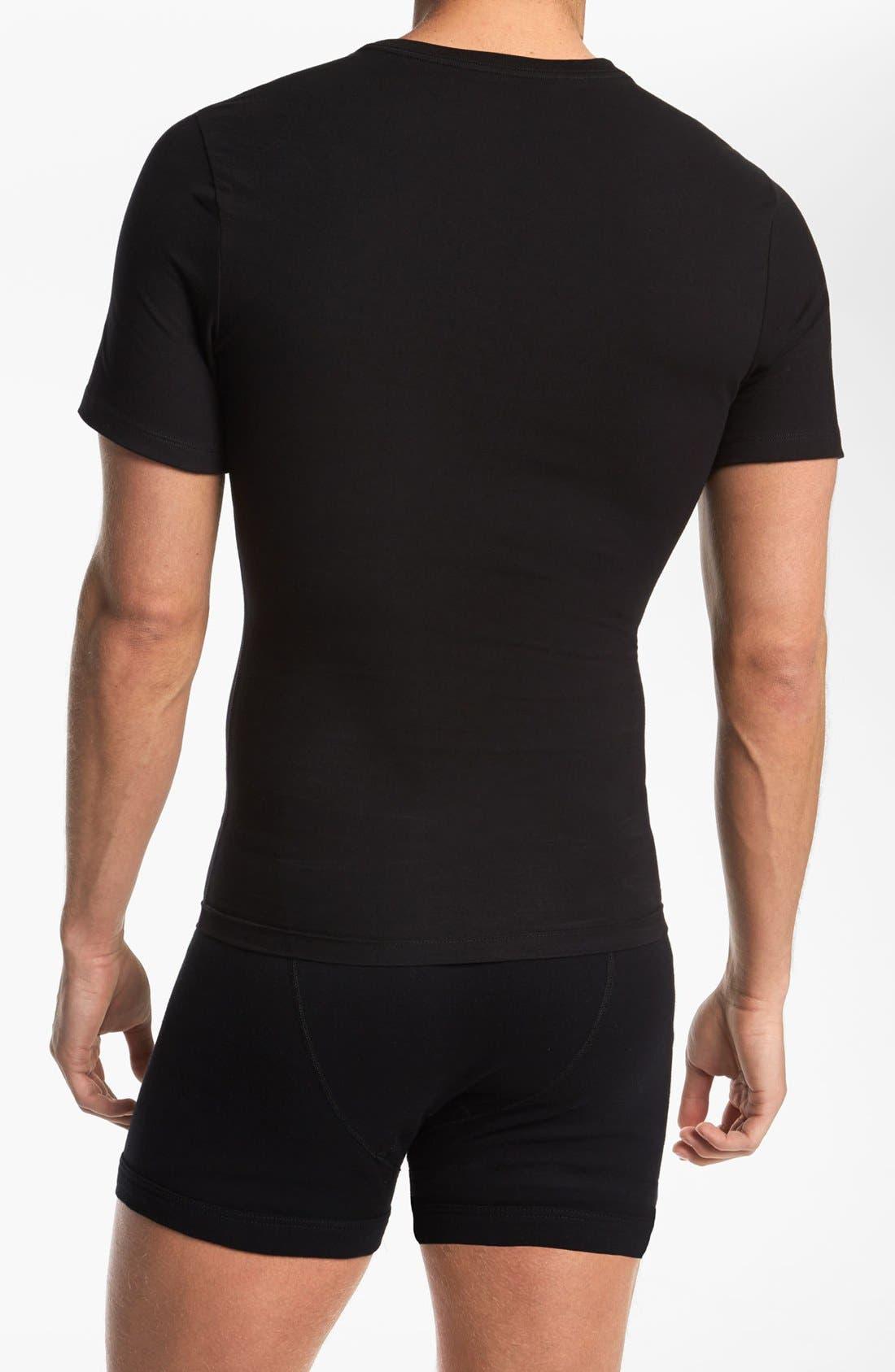 Crewneck Cotton Compression T-Shirt,                             Alternate thumbnail 2, color,                             BLACK