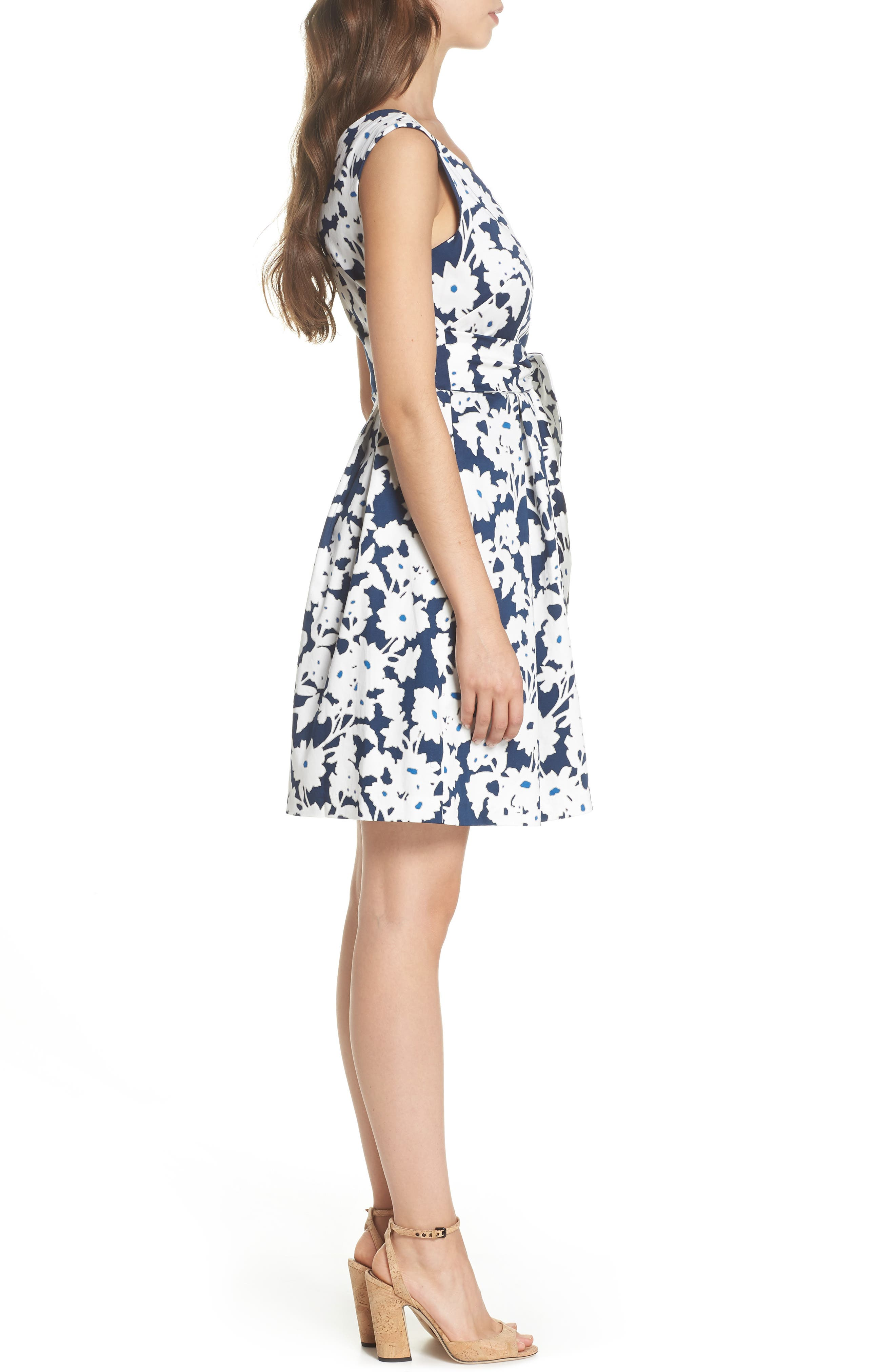Daisy Field Fit & Flare Dress,                             Alternate thumbnail 3, color,                             480