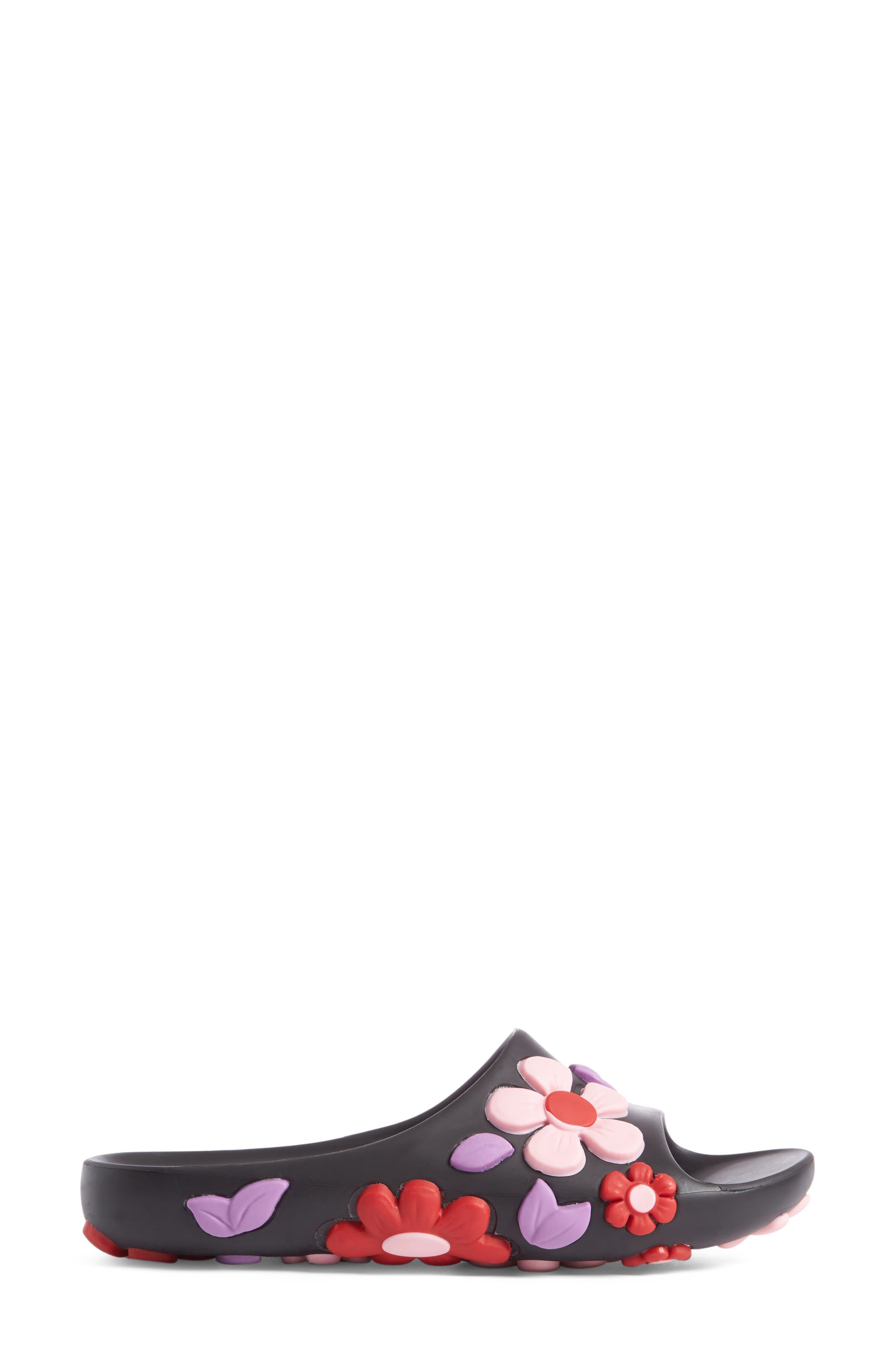 Floral Slide Sandal,                             Alternate thumbnail 3, color,                             001