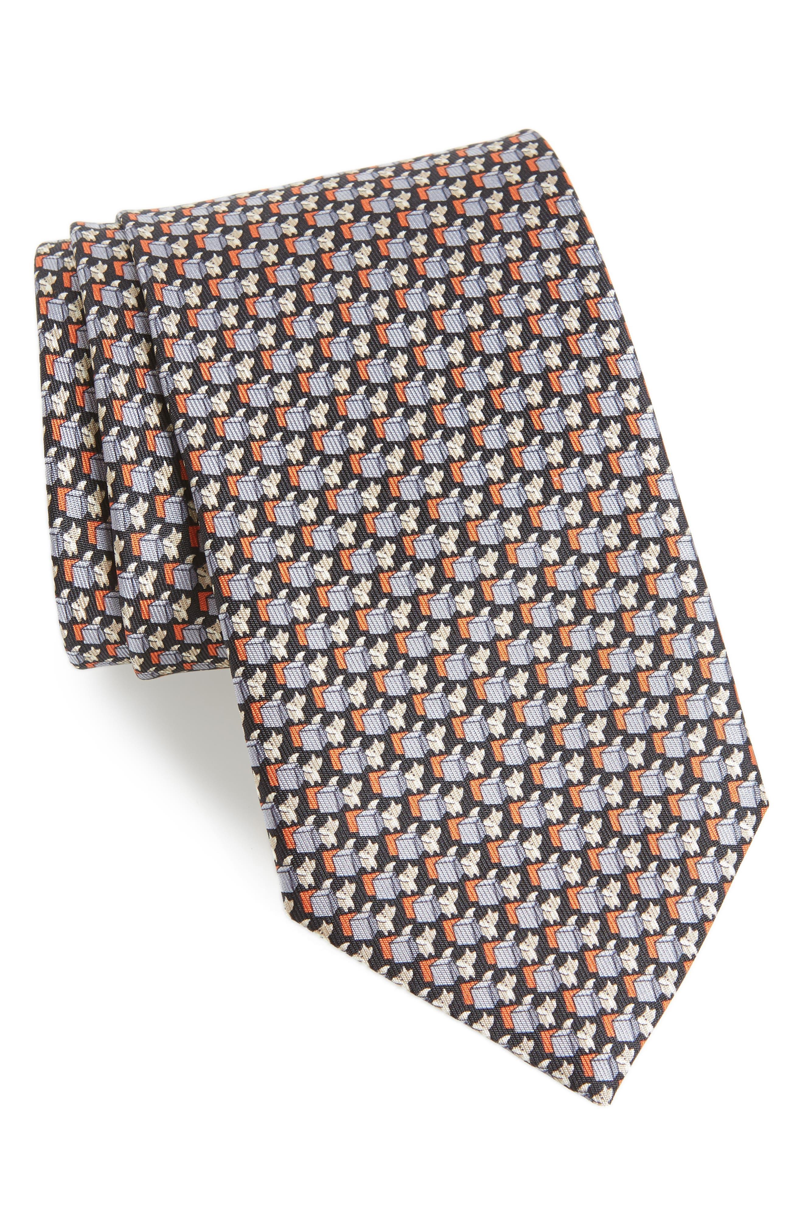 Fox Print Silk Tie,                         Main,                         color, BLACK
