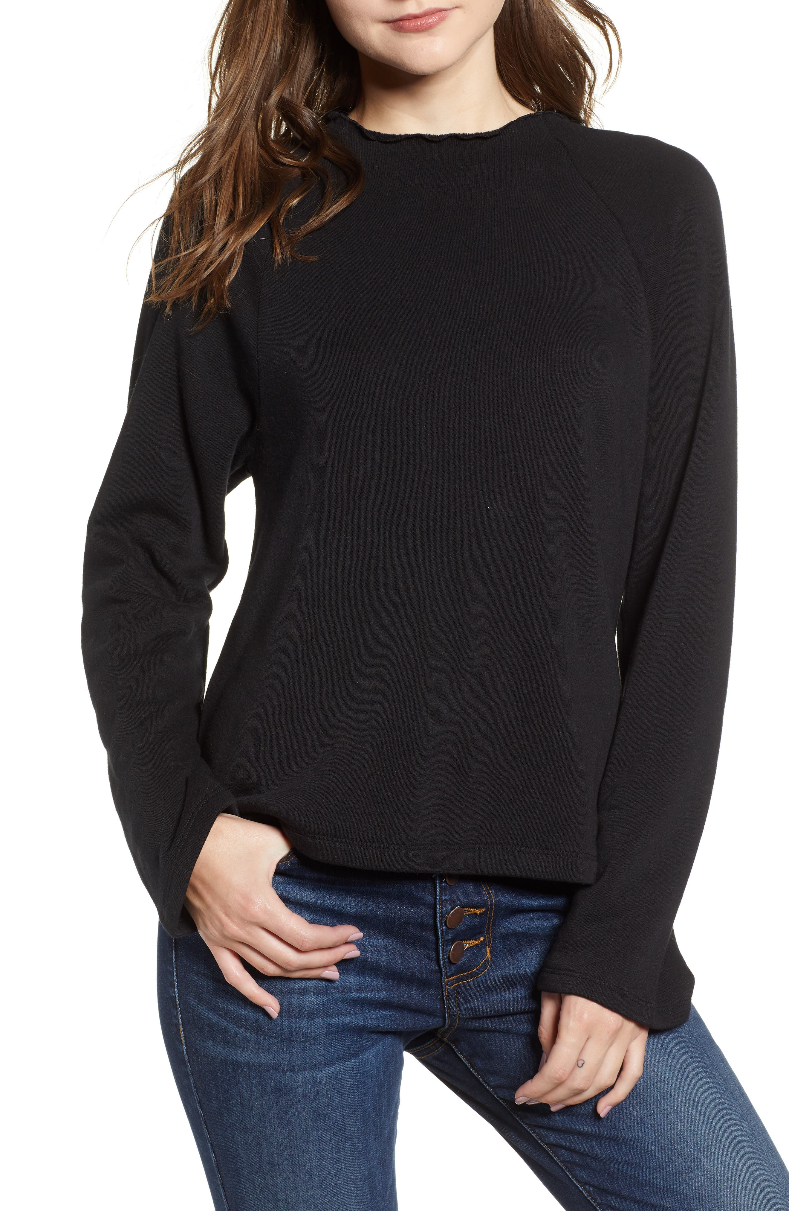 Lettuce Hem Fleece Pullover,                             Main thumbnail 1, color,                             001