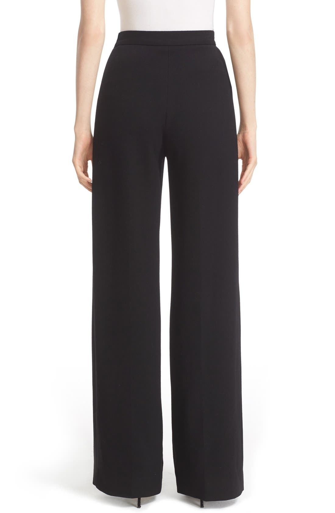 Stretch Wool High Waist Pants,                             Alternate thumbnail 3, color,                             001