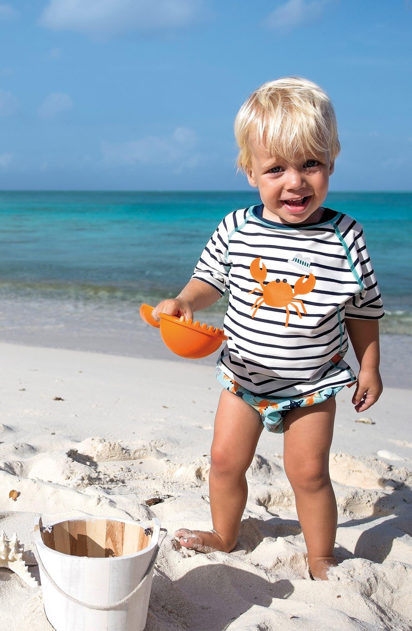 Lassig Two-Piece Rashguard Swimsuit & Hat Set,                             Main thumbnail 1, color,                             400