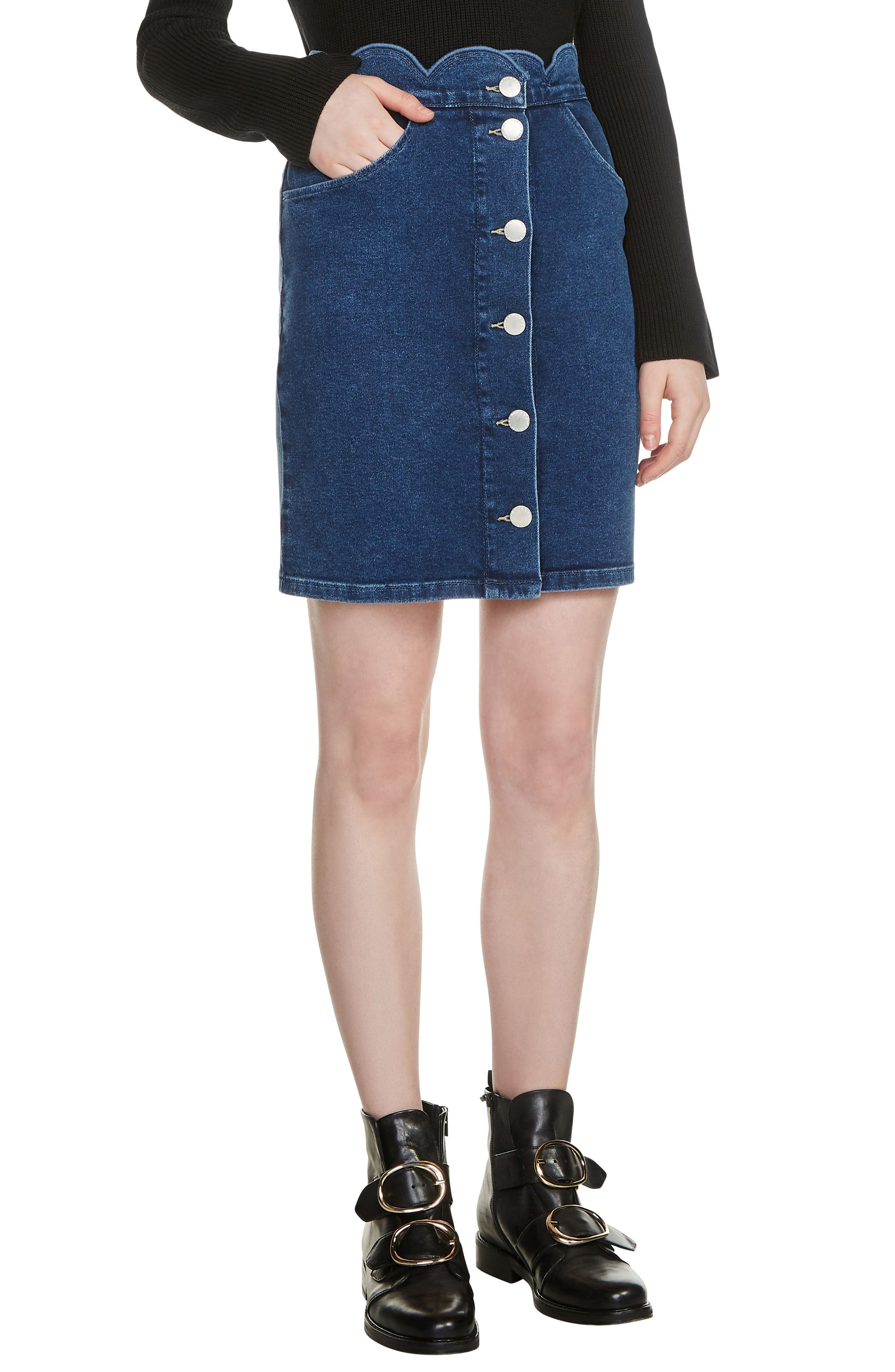 Jaron Scallop Waist Denim Skirt,                         Main,                         color, 400