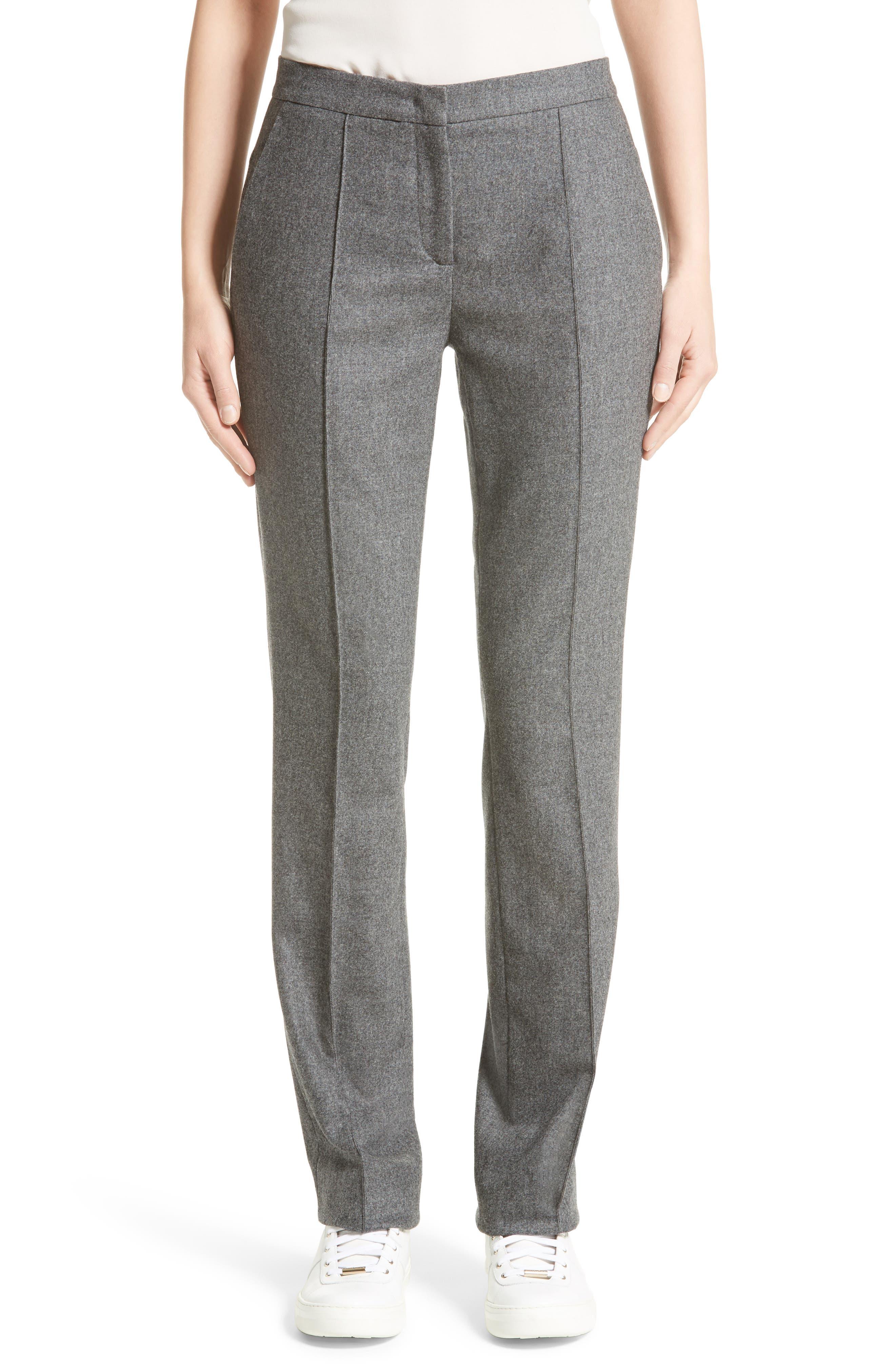 High Waist Flannel Trousers,                             Main thumbnail 1, color,