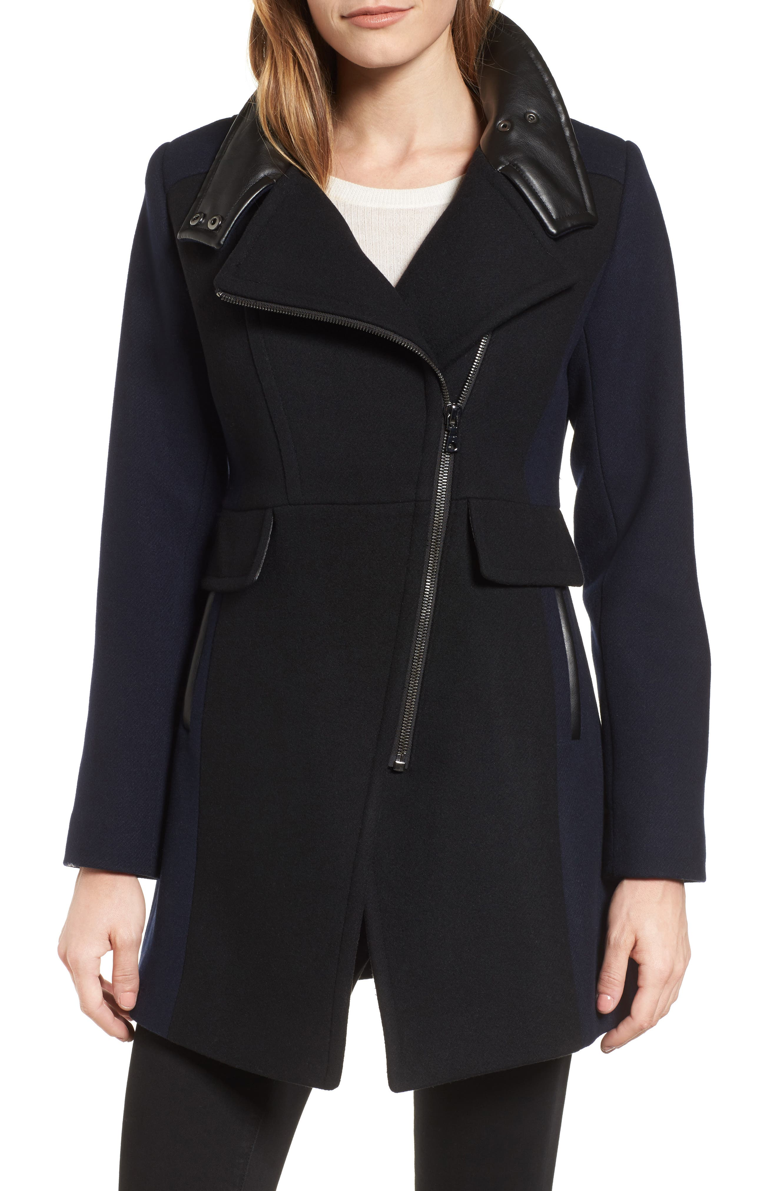 Eleanor Leather Trim Wool Blend Coat,                             Main thumbnail 1, color,                             002