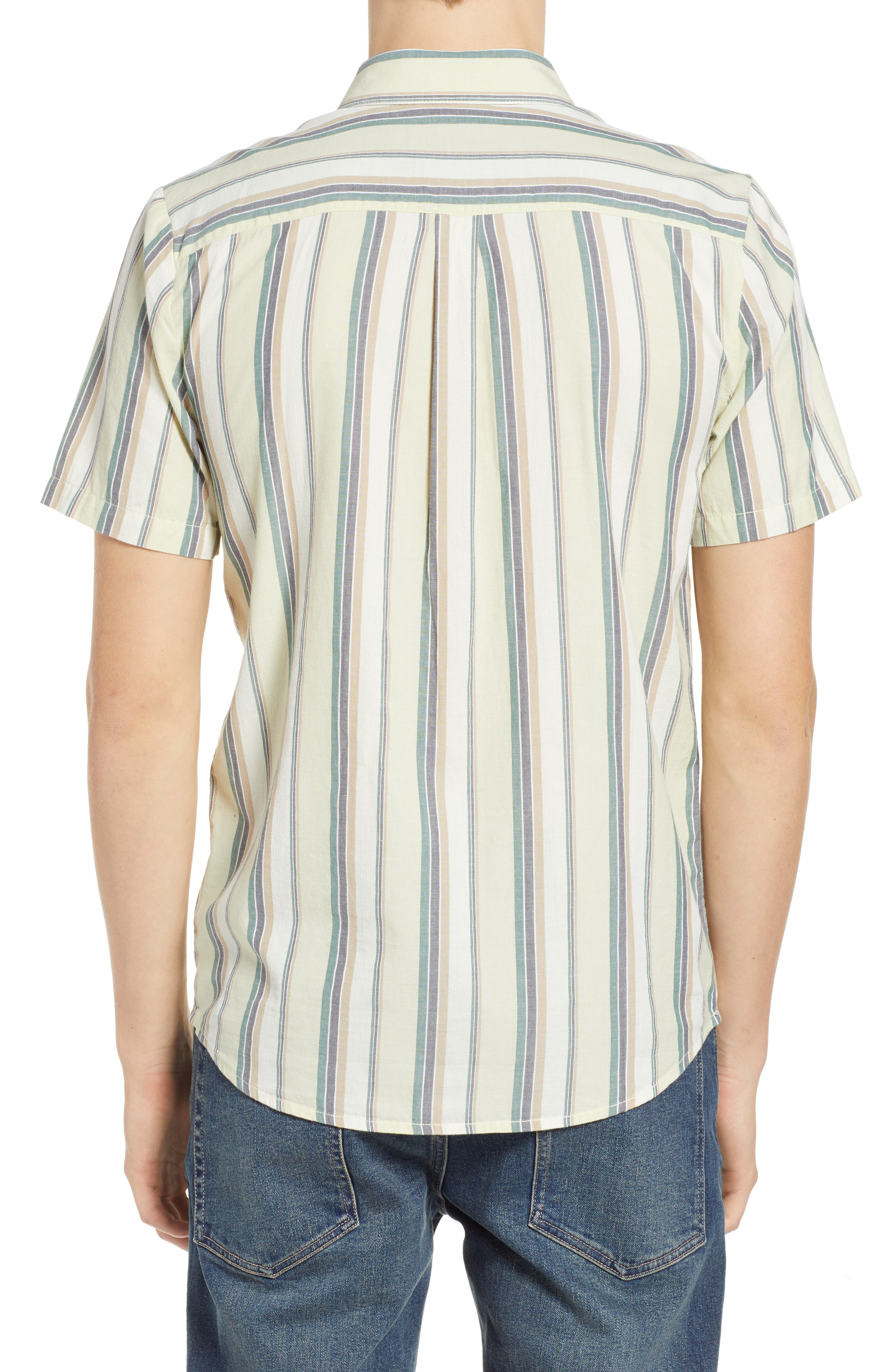 Multitone Stripe Woven Shirt,                             Alternate thumbnail 3, color,                             SAGE
