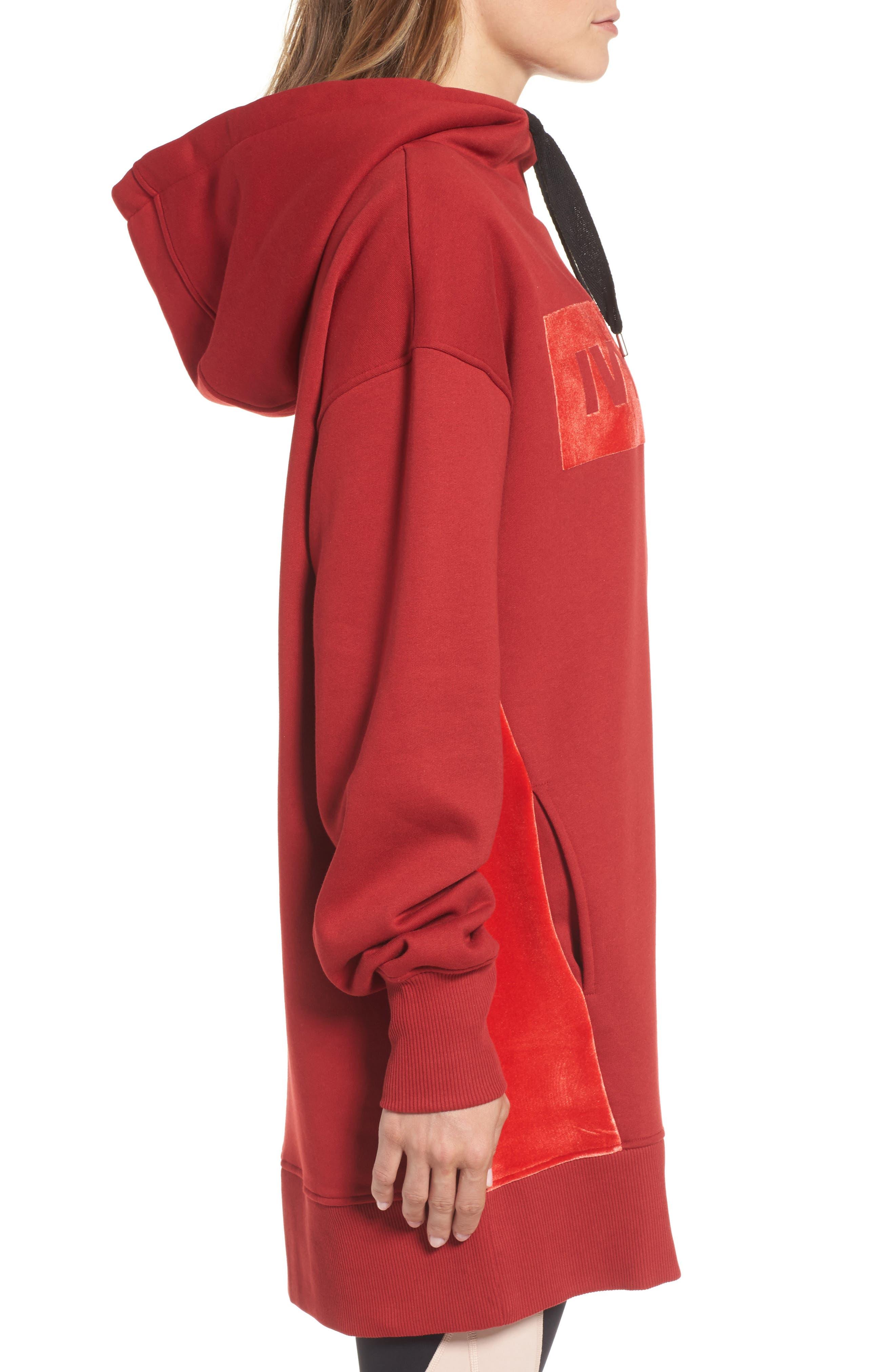 Oversize Velvet Logo Hoodie Dress,                             Alternate thumbnail 3, color,                             600
