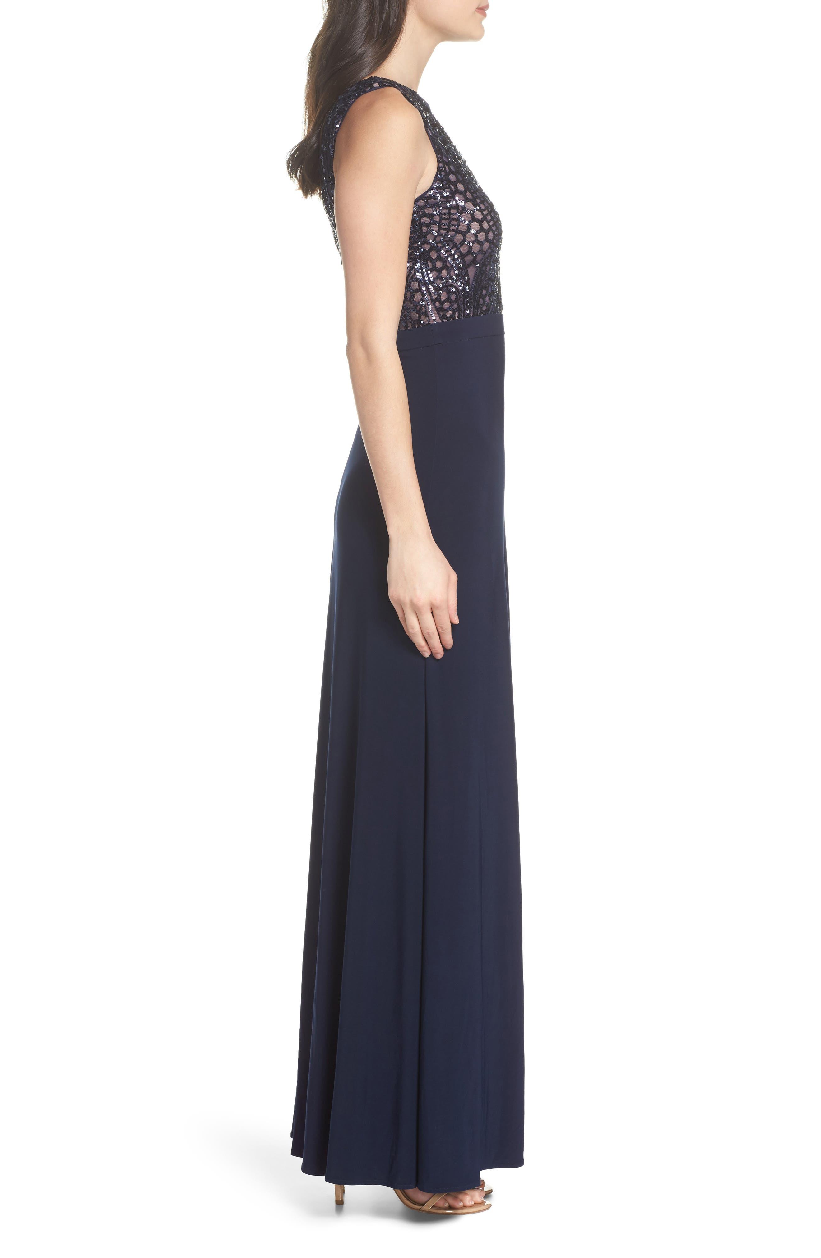 Sequin Bodice Illusion Neck Gown,                             Alternate thumbnail 3, color,                             404
