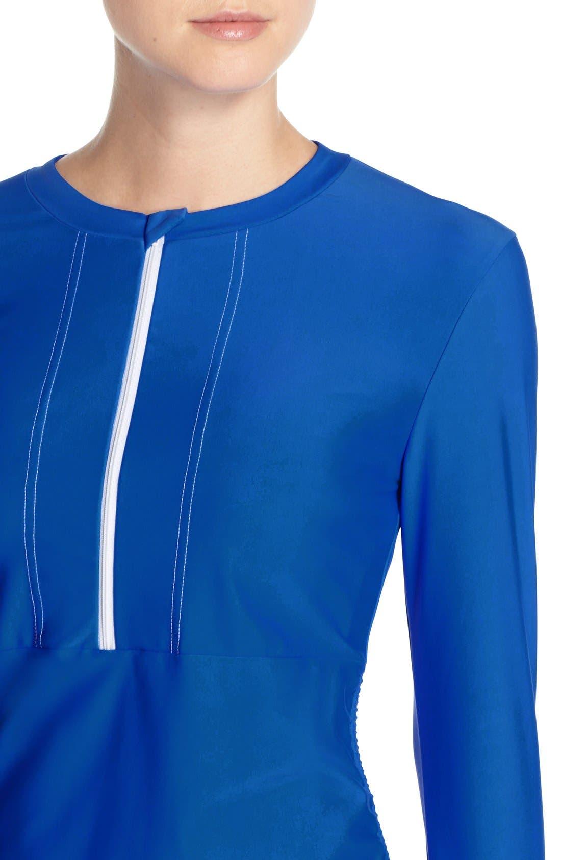 'Sonja' Long Sleeve Half Zip Convertible Swimdress,                             Alternate thumbnail 40, color,