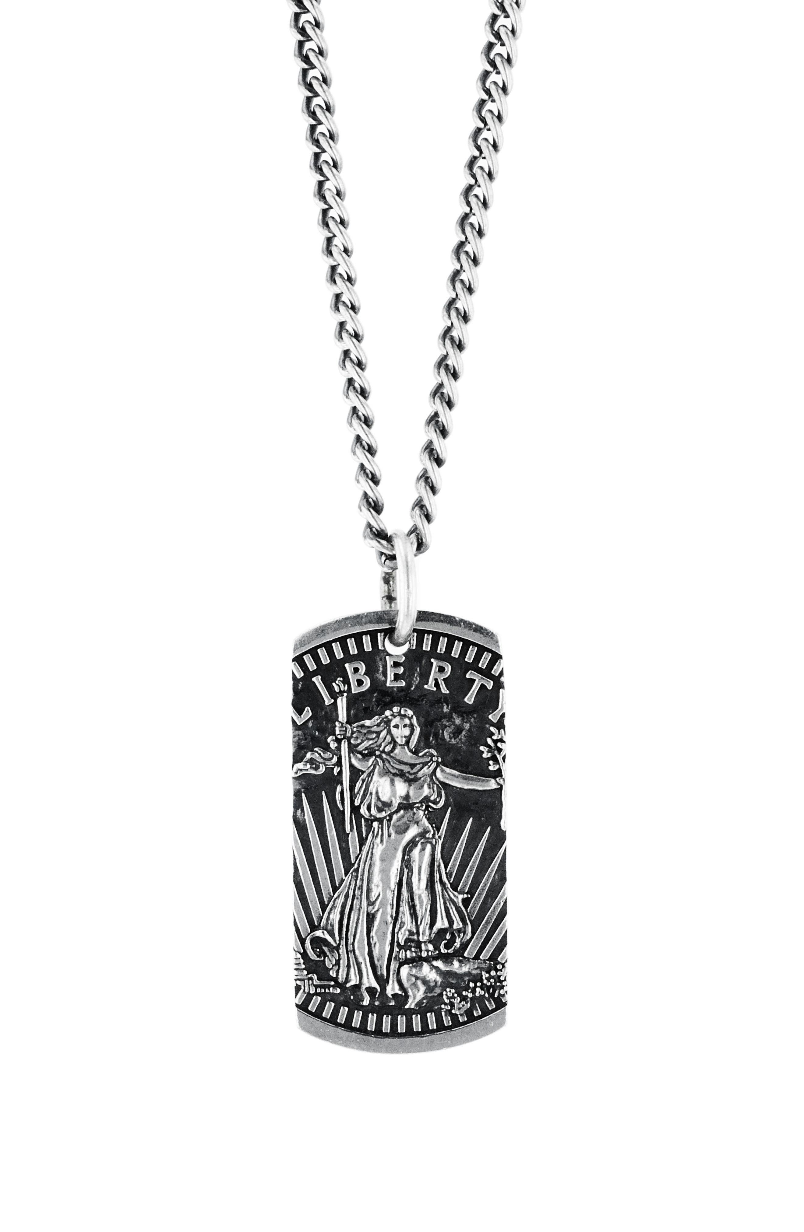 American Voices Liberty Dog Tag Necklace,                             Main thumbnail 1, color,                             SILVER