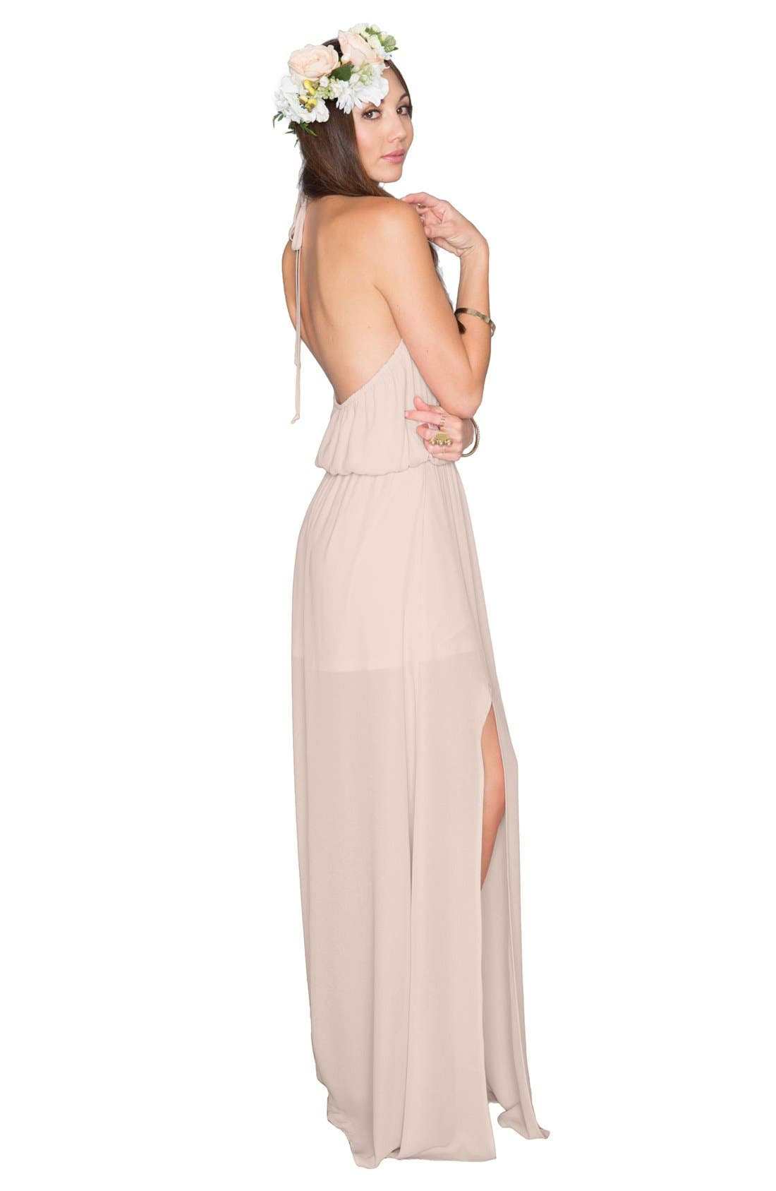 Heather Chiffon Halter Gown,                             Alternate thumbnail 39, color,