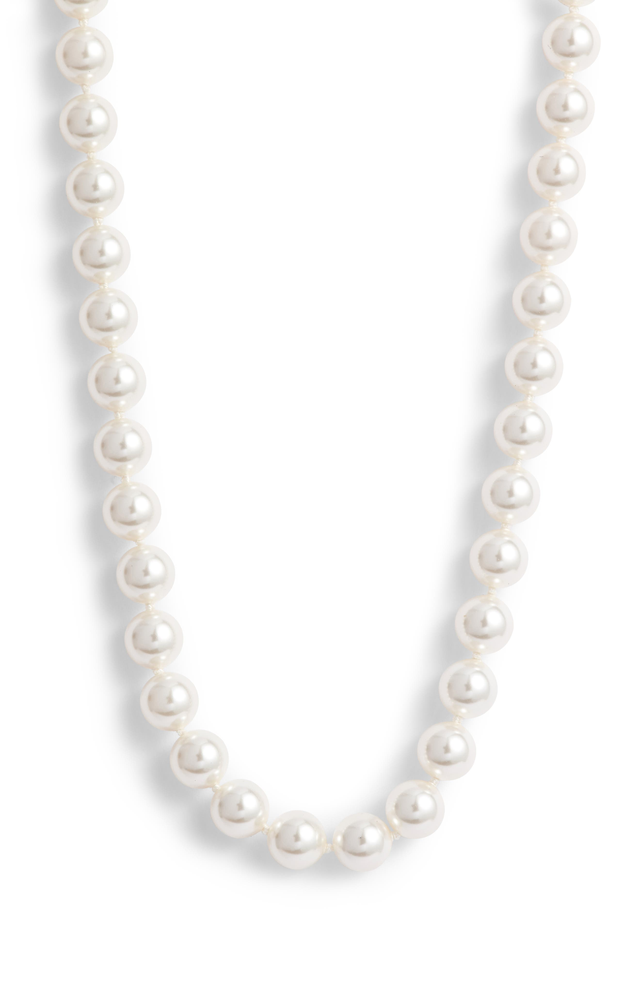 Simulated Pearl Long Necklace, Main, color, PEARL/ SILVER