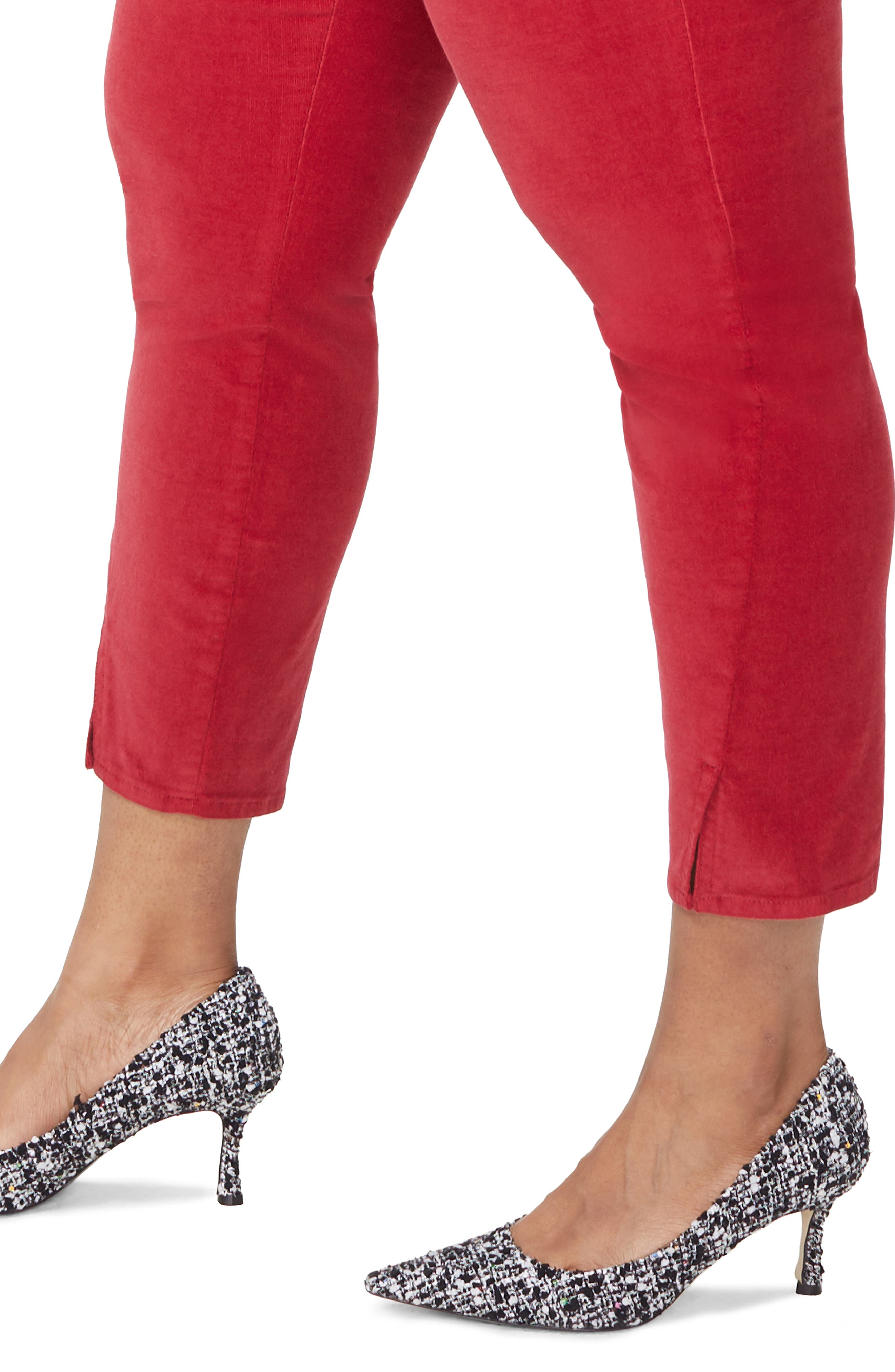 Ami Twist Seam Ankle Slit Velvet Pants,                             Alternate thumbnail 4, color,                             GOOSEBERRY