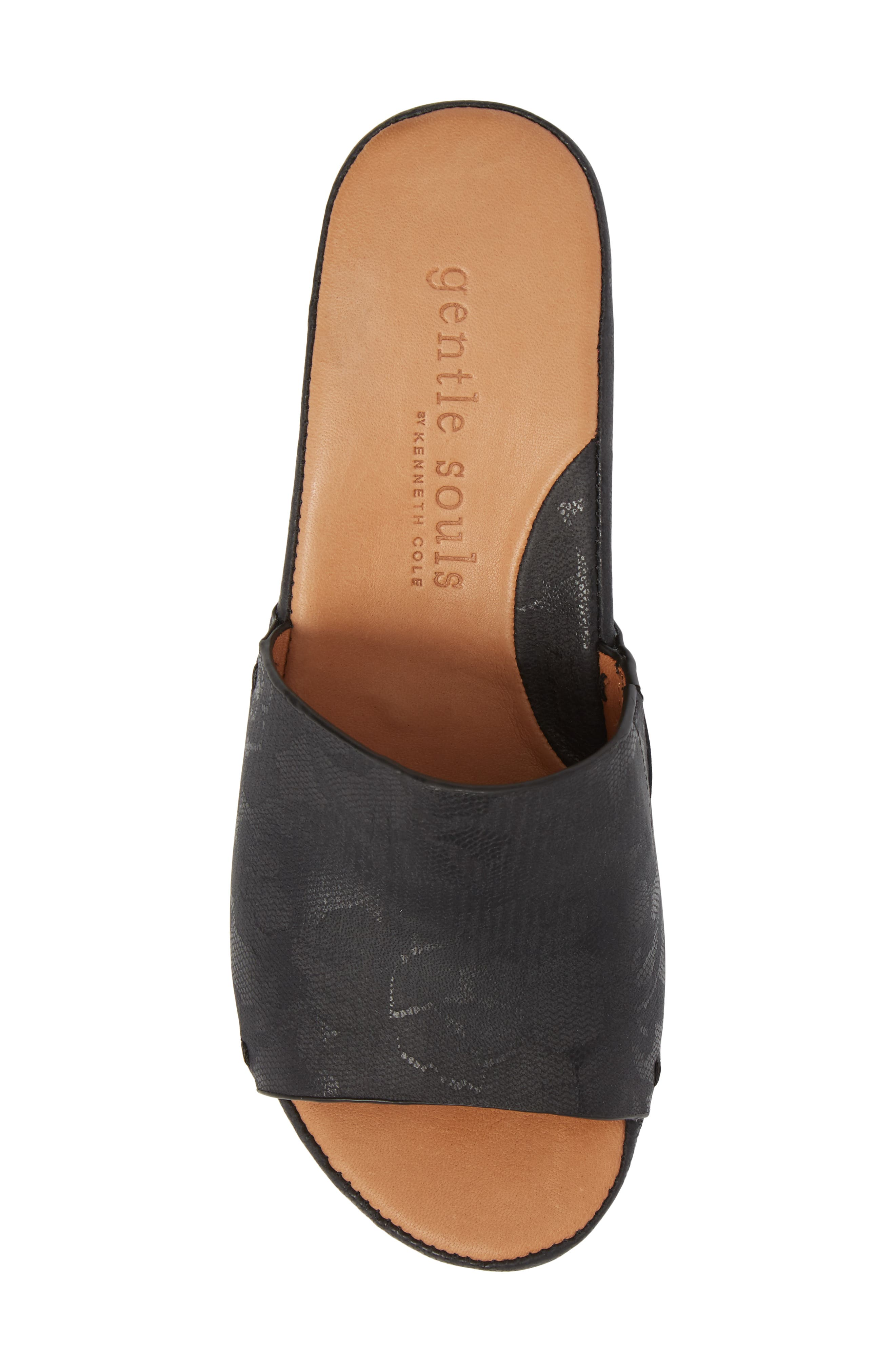 by Kenneth Cole Forella Slide Sandal,                             Alternate thumbnail 5, color,                             BLACK PRINTED LEATHER