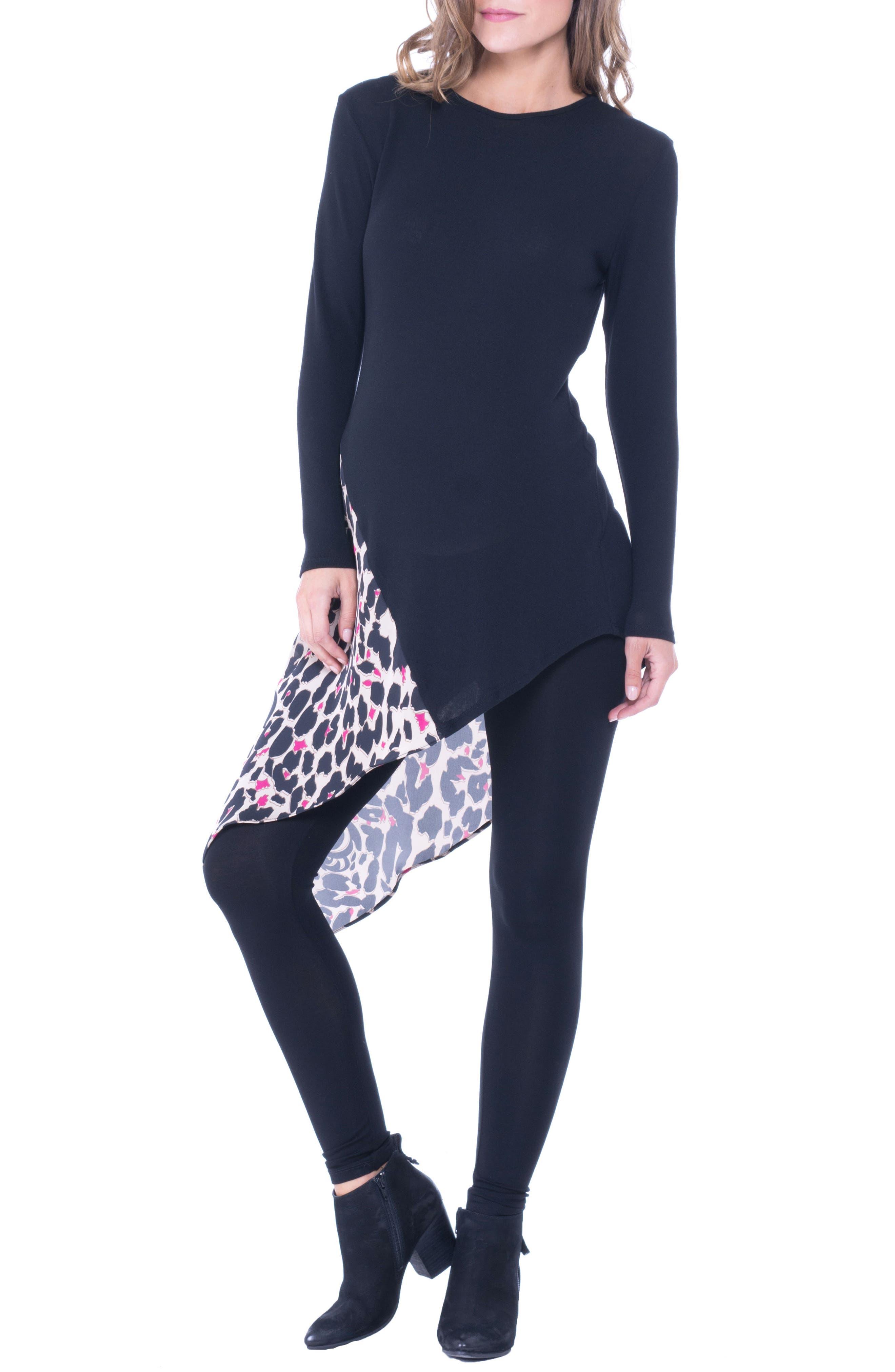 Leah Animal Print Side Tie Maternity Top,                             Main thumbnail 1, color,                             BLACK