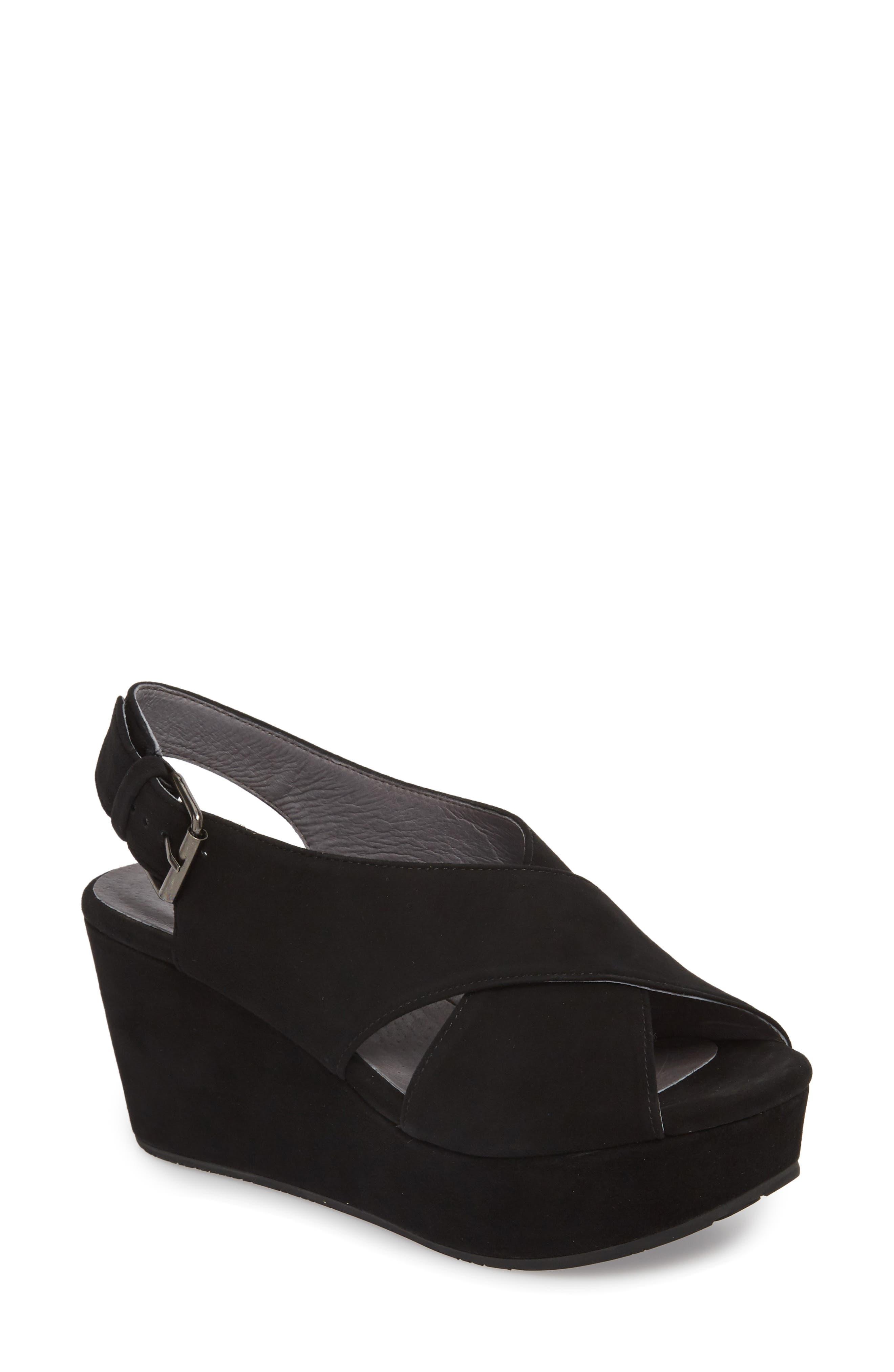 Wim Platform Wedge Sandal,                         Main,                         color, BLACK SUEDE