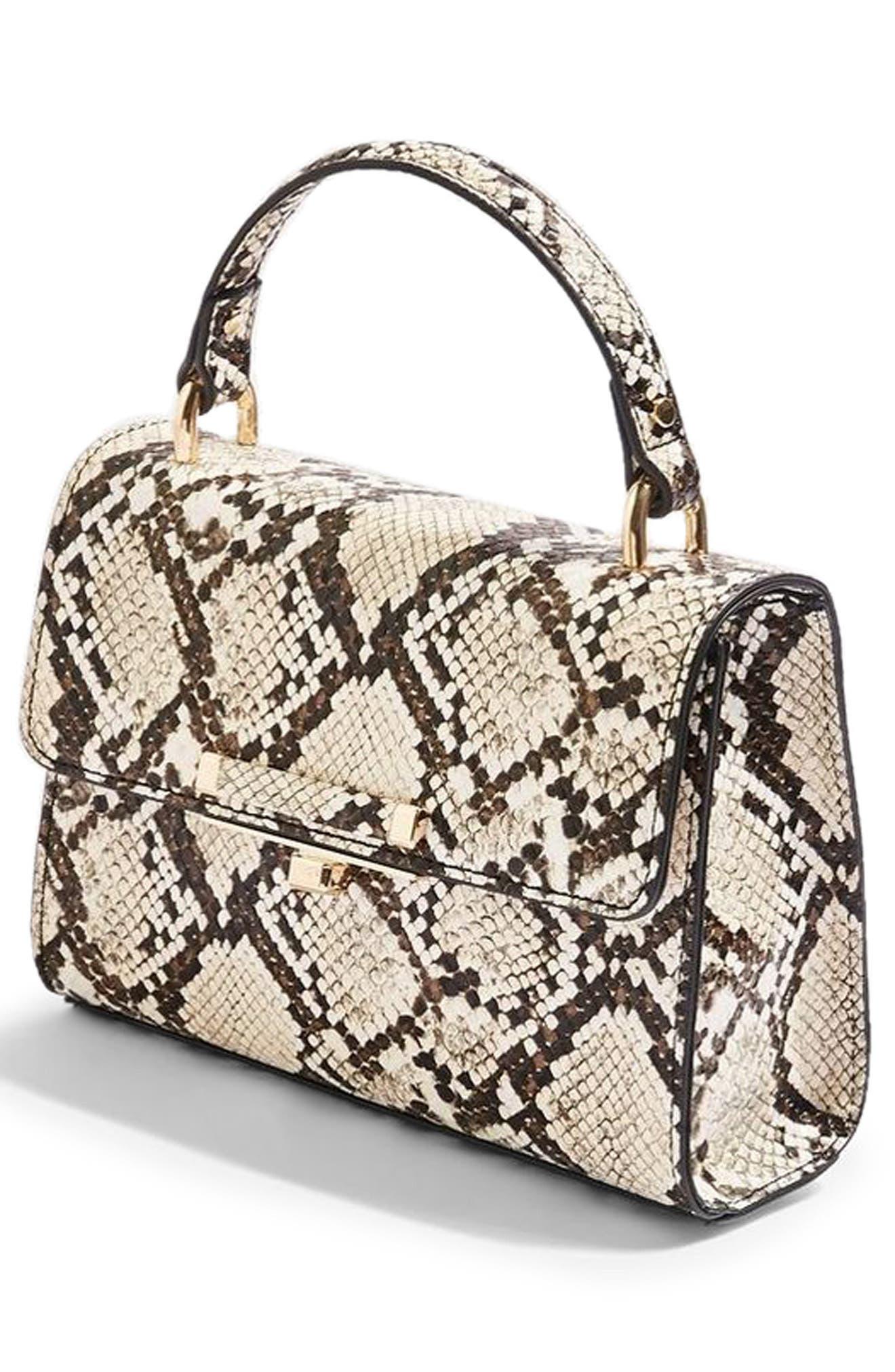 Mini Marissa Snake Embossed Top Handle Bag,                             Alternate thumbnail 4, color,                             250