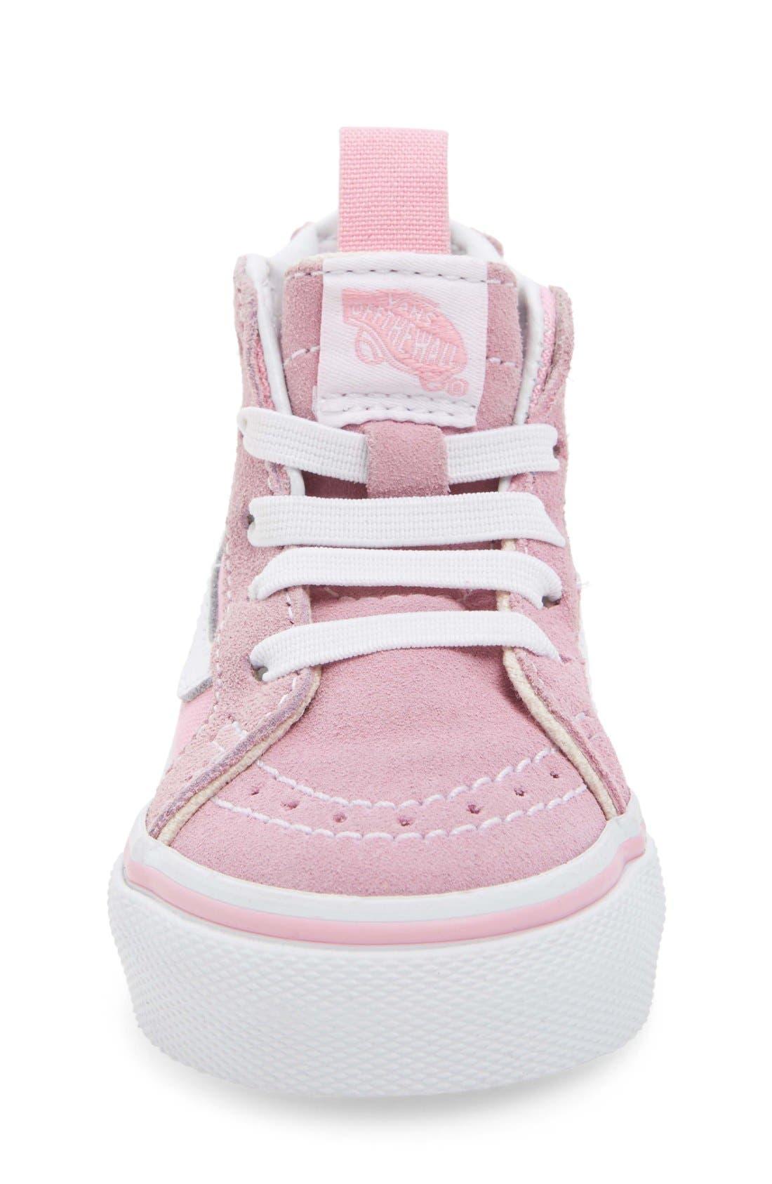 'Sk8-Hi Zip' Sneaker,                             Alternate thumbnail 4, color,                             PRISM PINK/ TRUE WHITE
