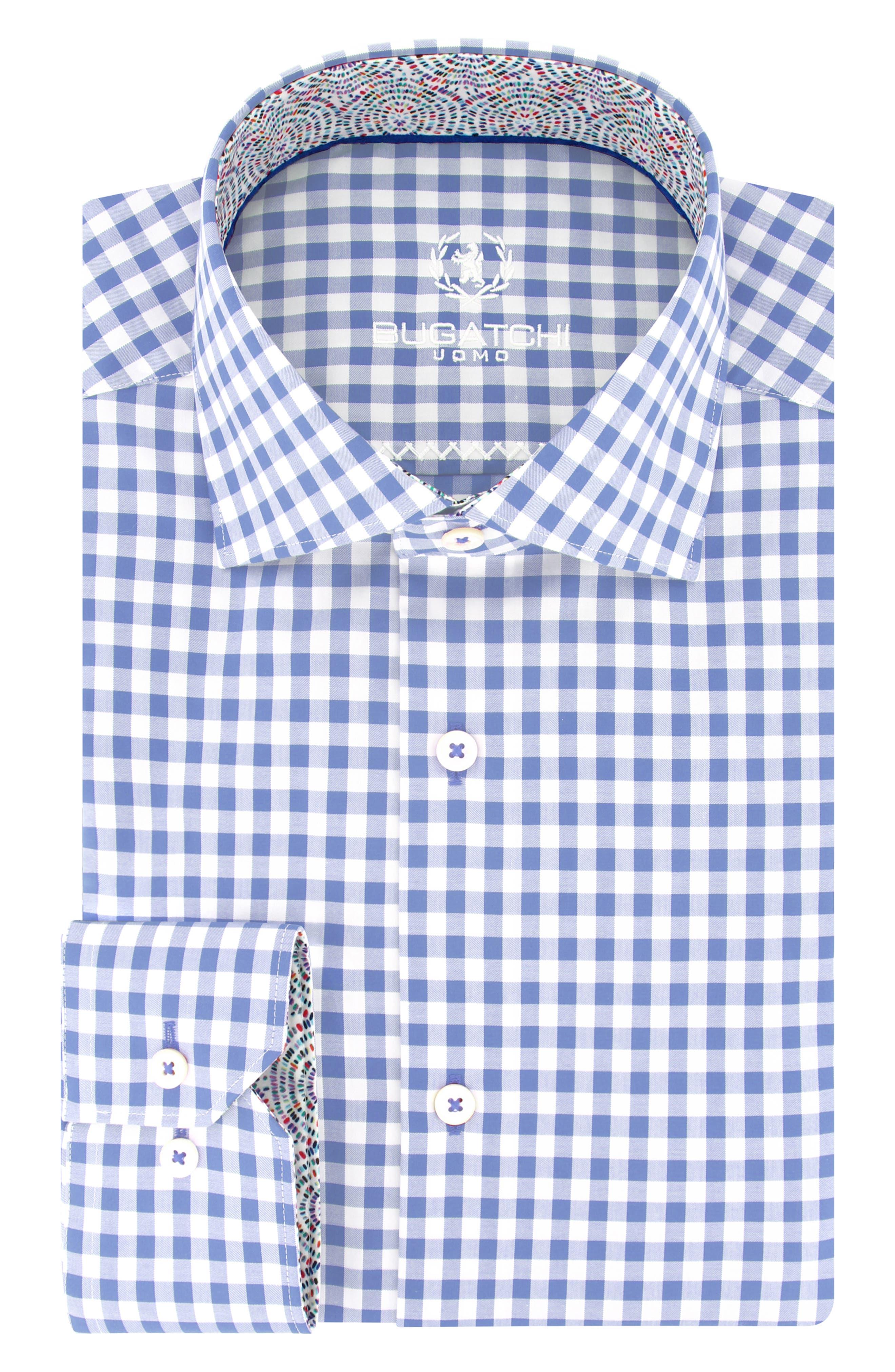Trim Fit Check Dress Shirt,                             Main thumbnail 2, color,