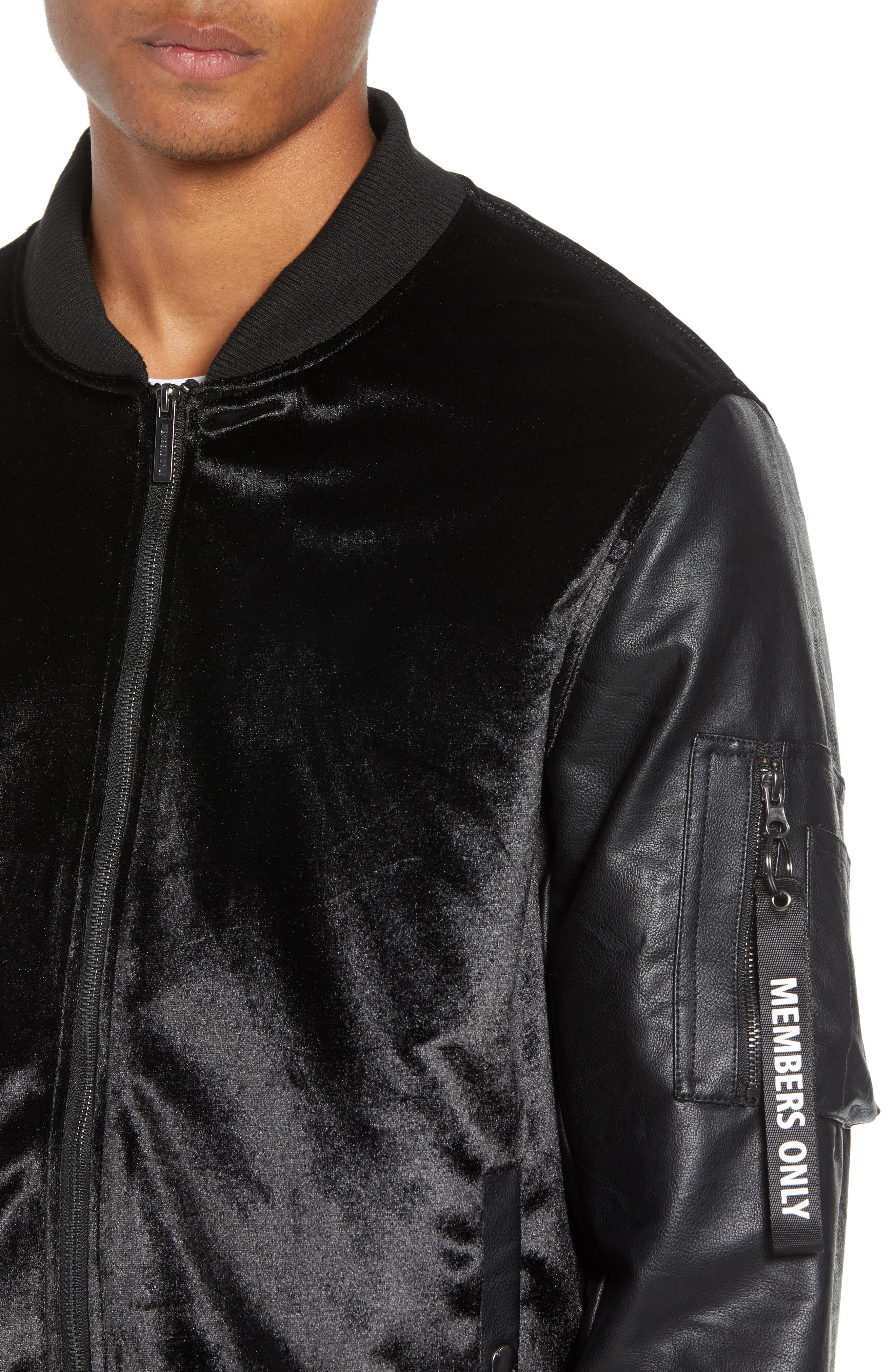 Velvet Bomber Jacket with Faux Leather Sleeves,                             Alternate thumbnail 4, color,                             BLACK