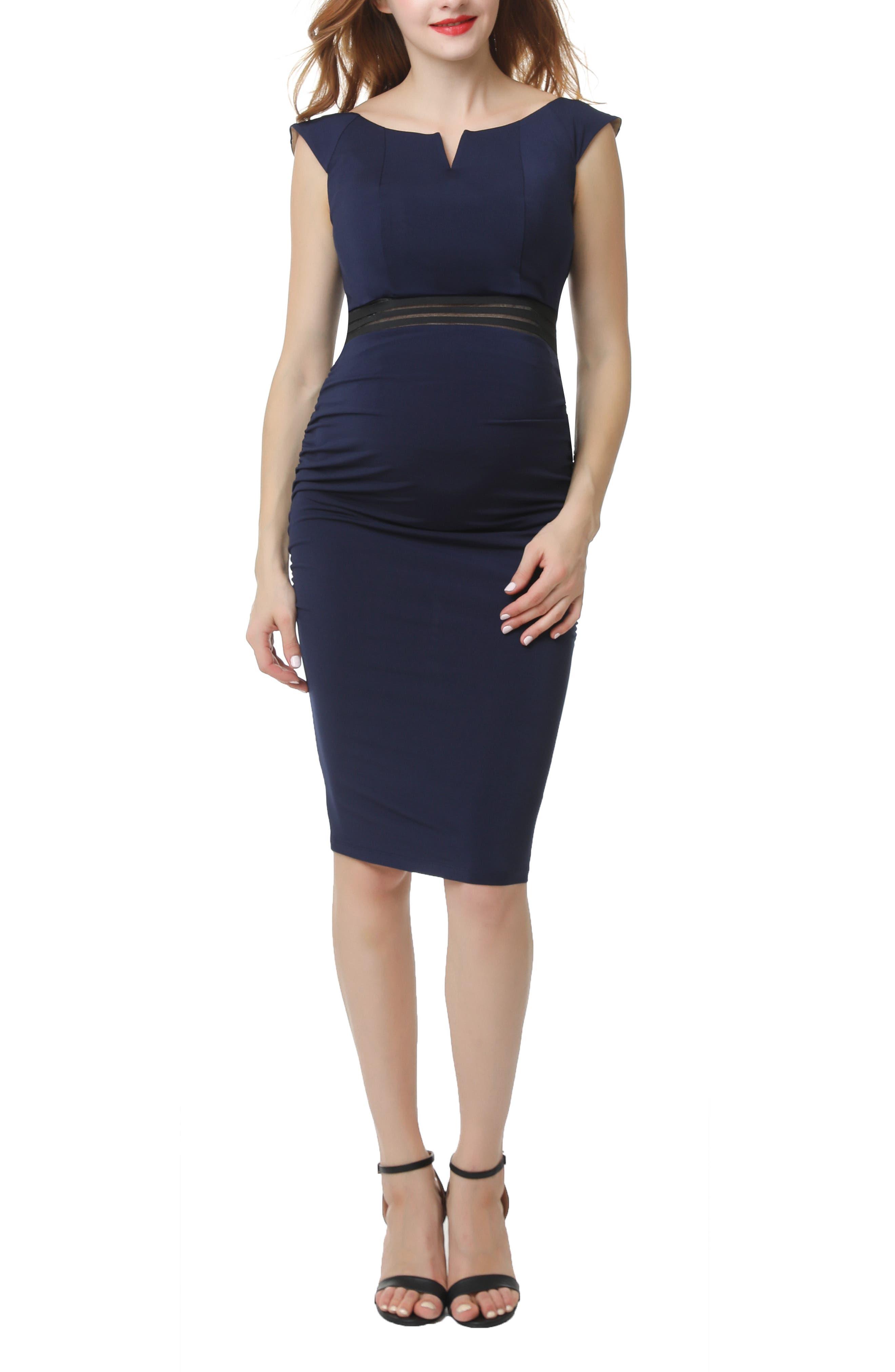 Kimi And Kai Lonnie Maternity Body-Con Dress, Blue