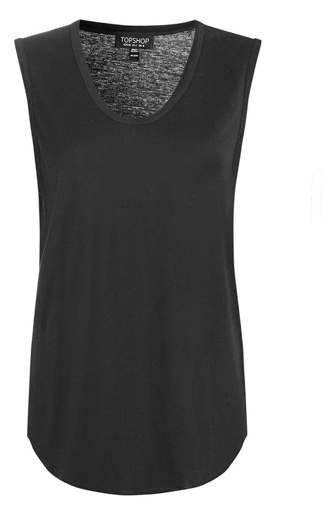 Slouchy U-Neck Tank,                             Alternate thumbnail 3, color,                             001