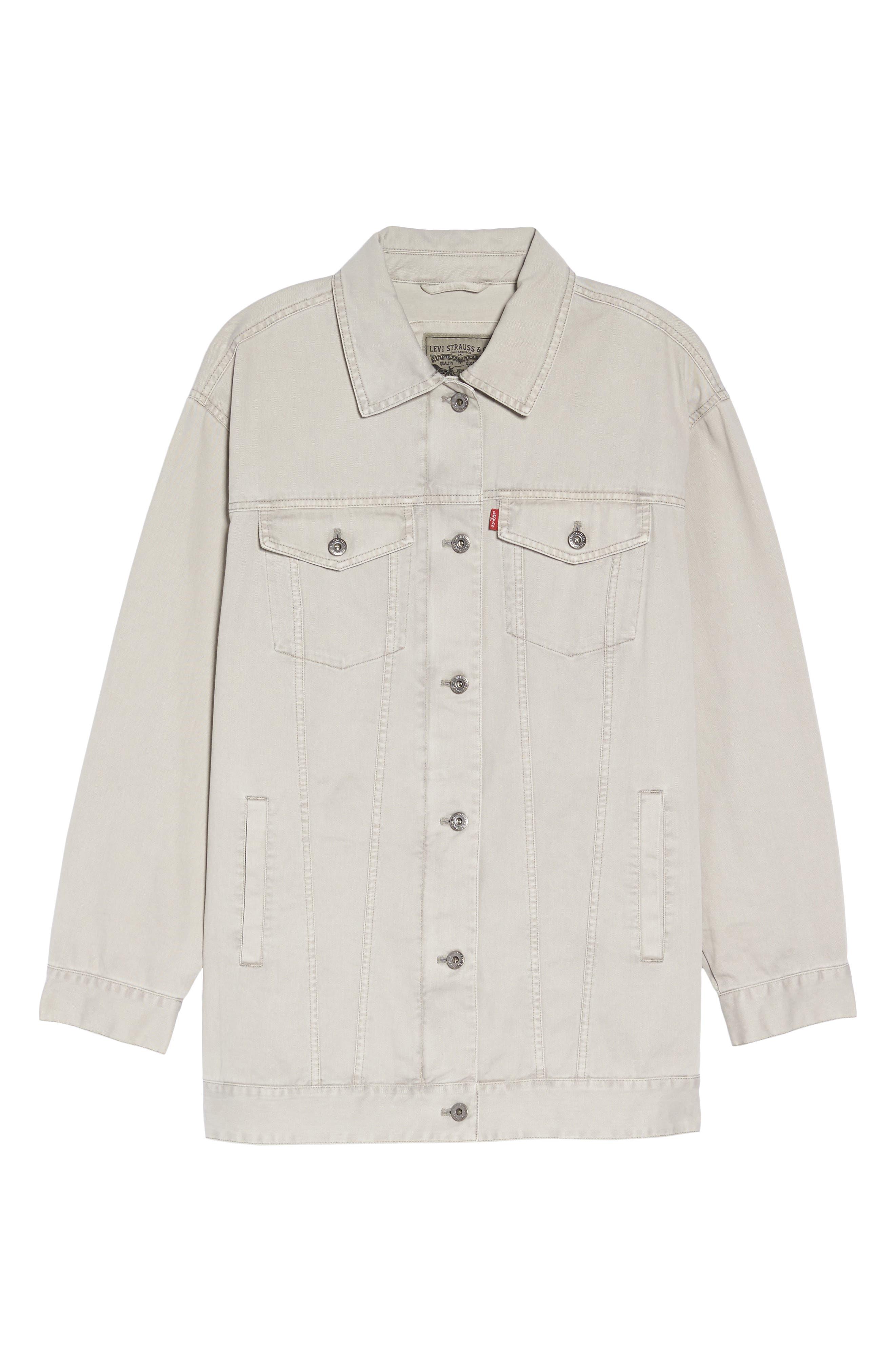 Oversize Cotton Canvas Trucker Jacket,                             Alternate thumbnail 5, color,                             030