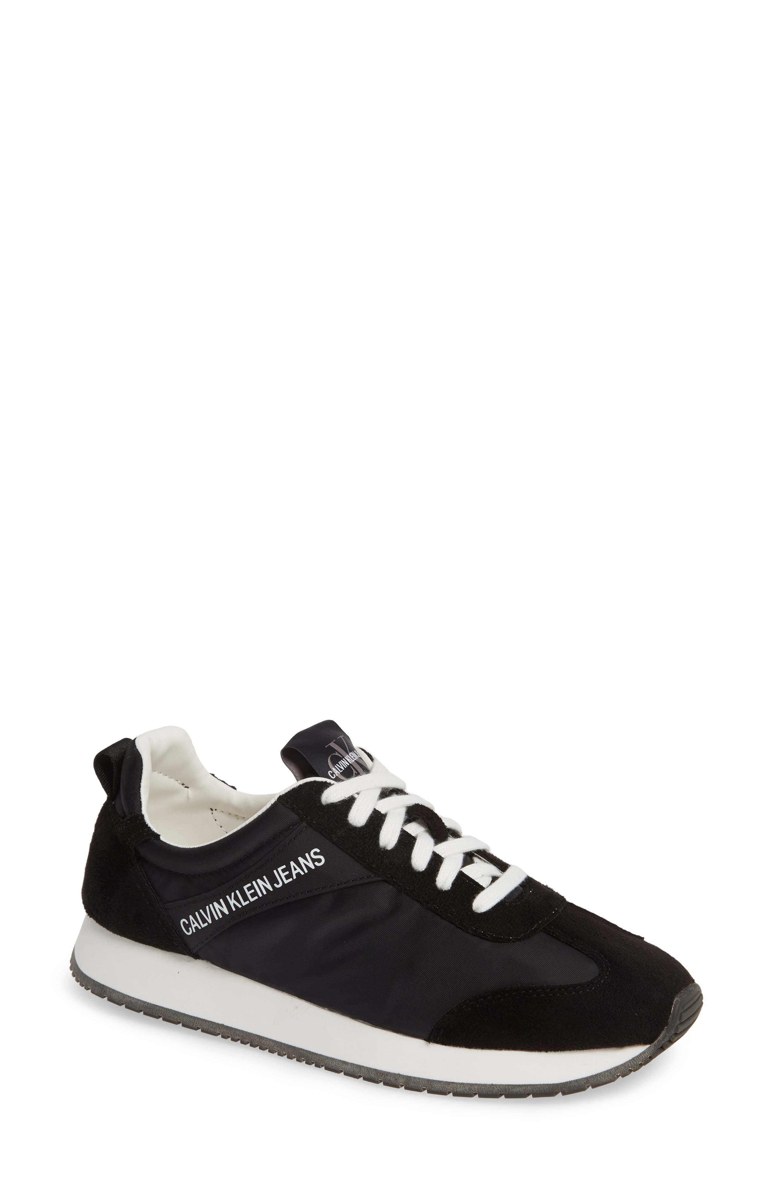 Jill Lace-Up Sneaker in Black Nylon/ Suede