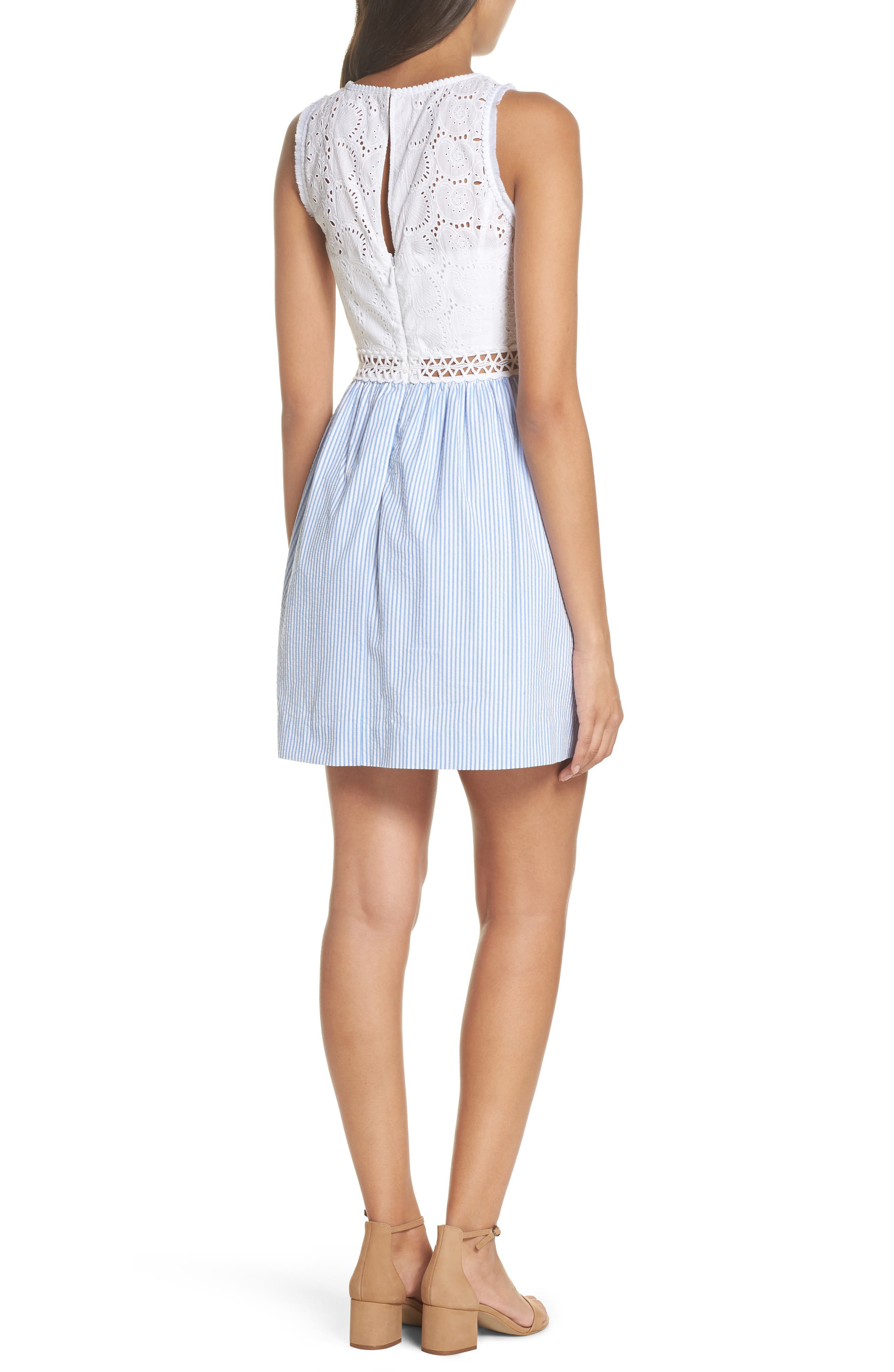 Lilly Pullitzer<sup>®</sup> Alivia Eyelet & Seersucker Fit & Flare Dress,                             Alternate thumbnail 2, color,                             BENNET BLUE YARD DYED STRIPE