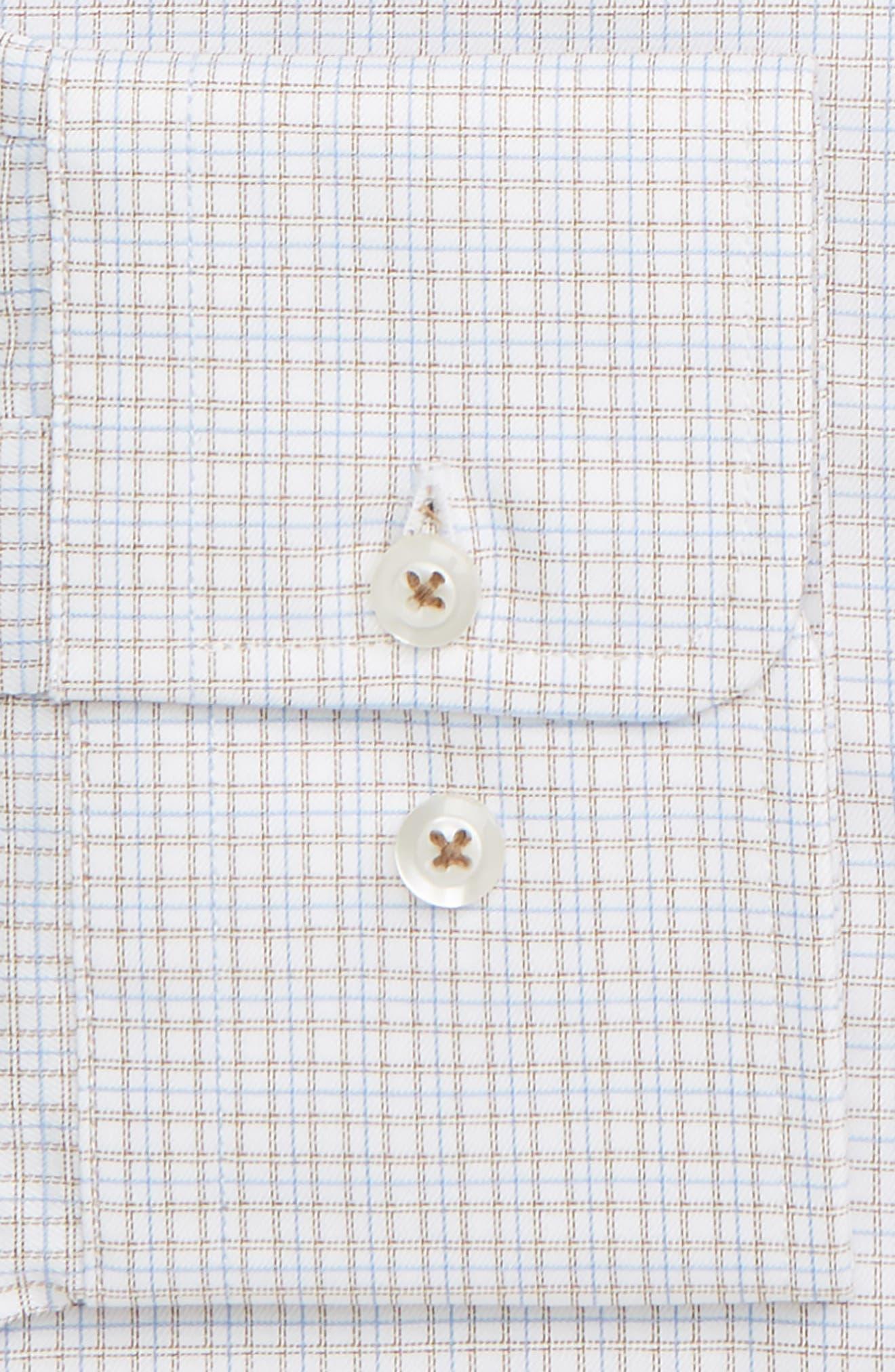 Trim Fit Check Dress Shirt,                             Alternate thumbnail 2, color,                             DUNE