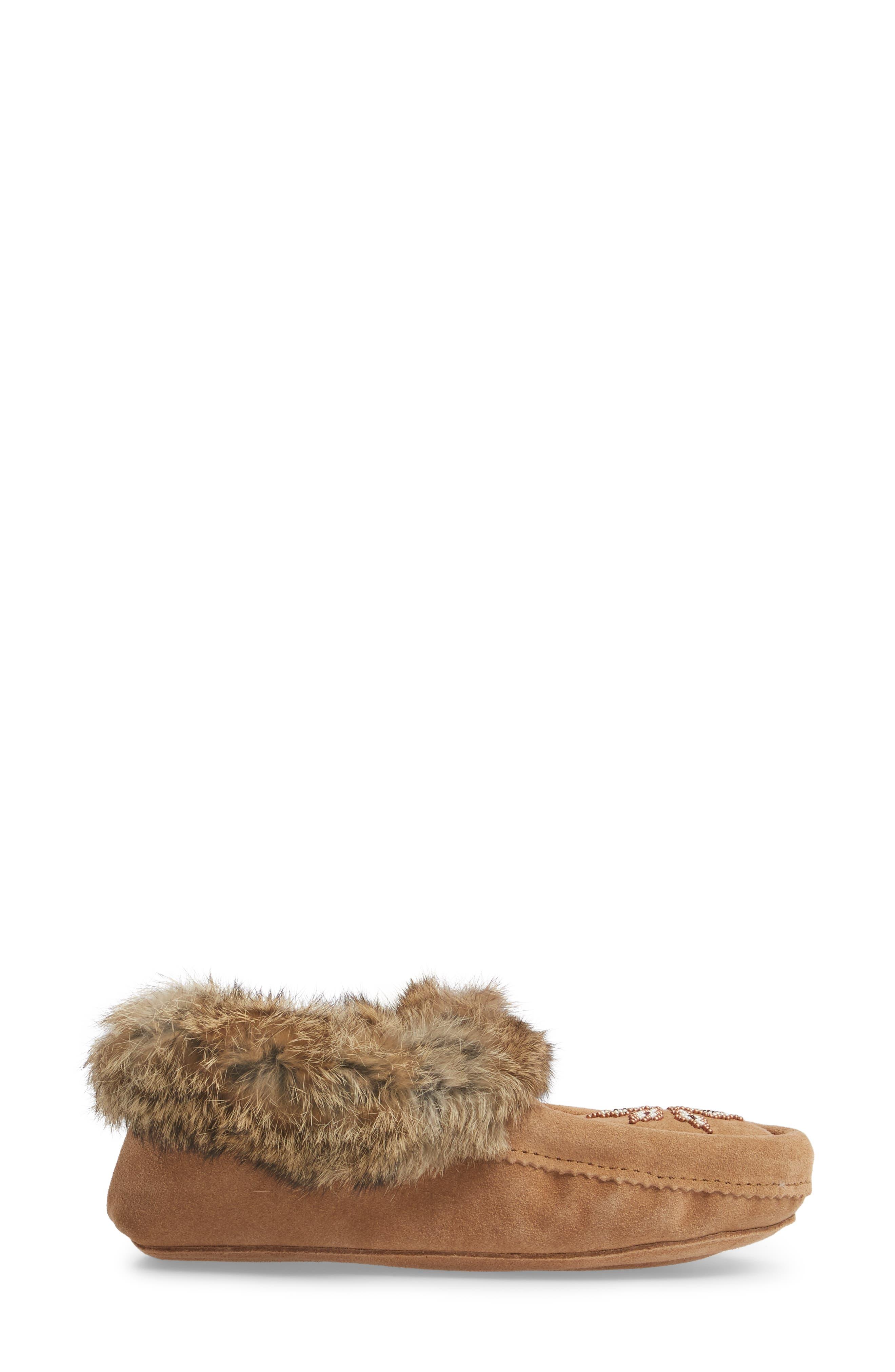 'Kanada' Genuine Rabbit Fur & Suede Moccasin Slipper,                             Alternate thumbnail 3, color,                             OAK FUR