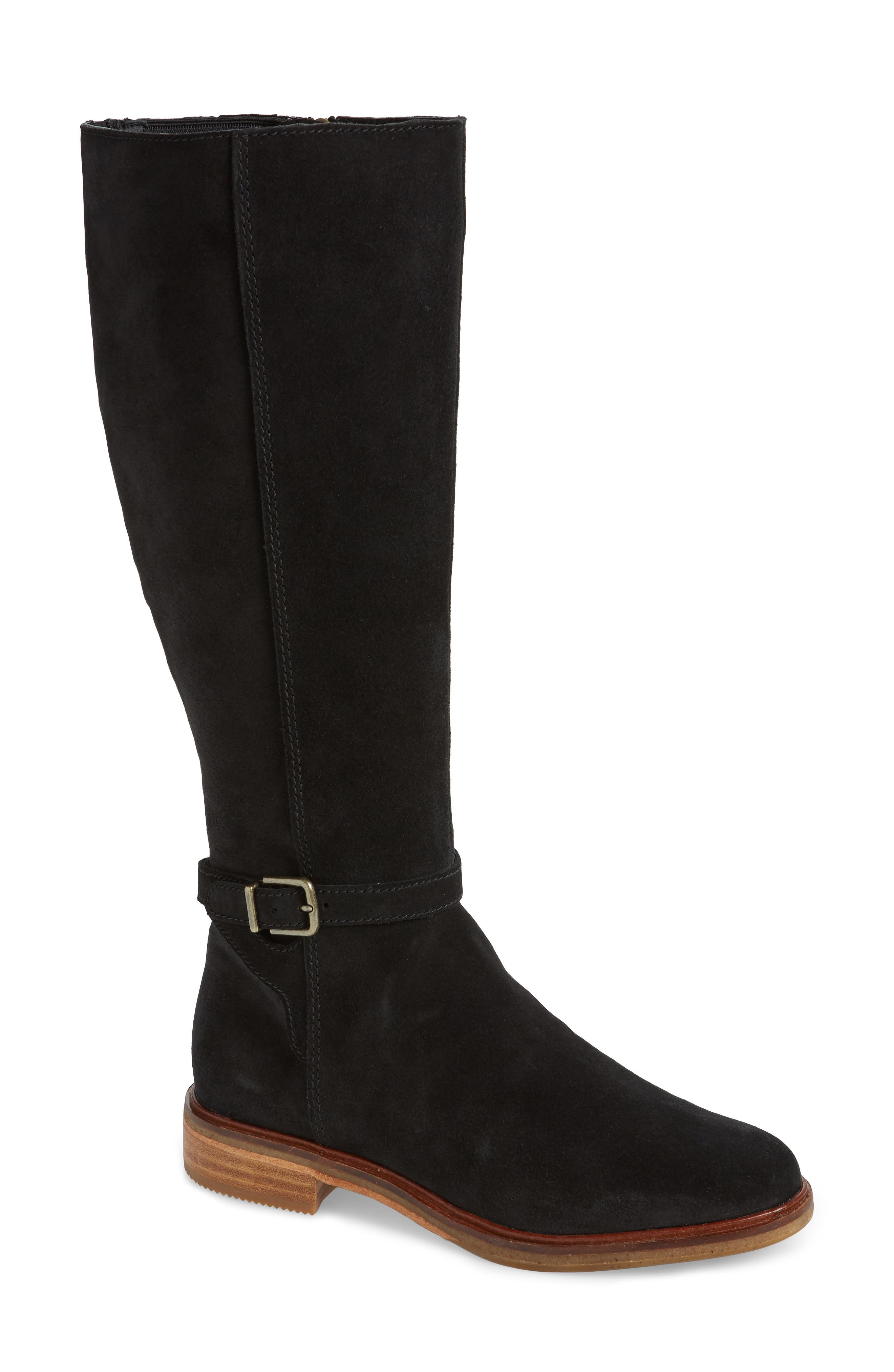 Clarkdale Clad Boot,                             Main thumbnail 1, color,                             BLACK SUEDE