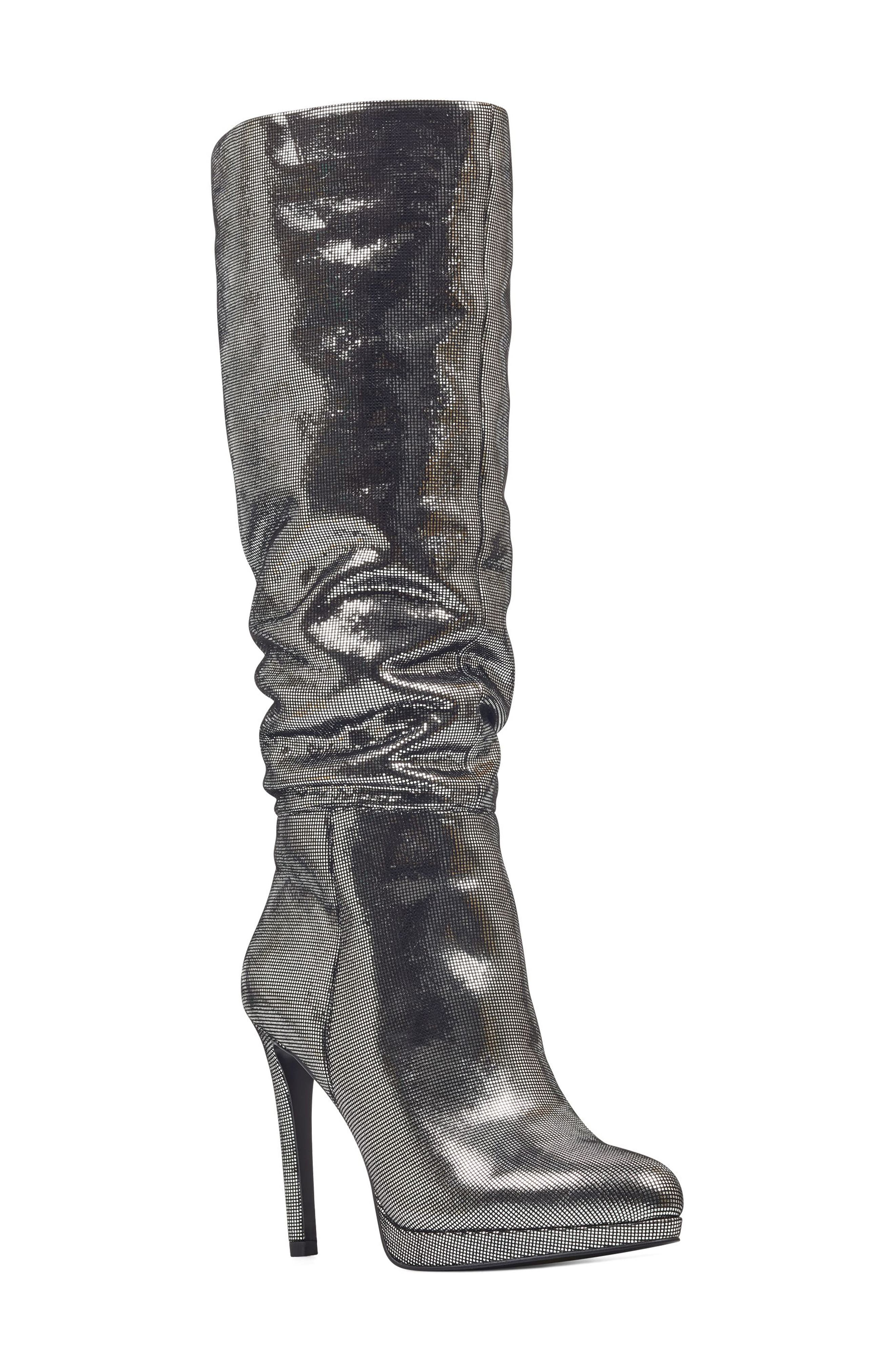 Nine West Quadilyn Knee High Boot, Metallic