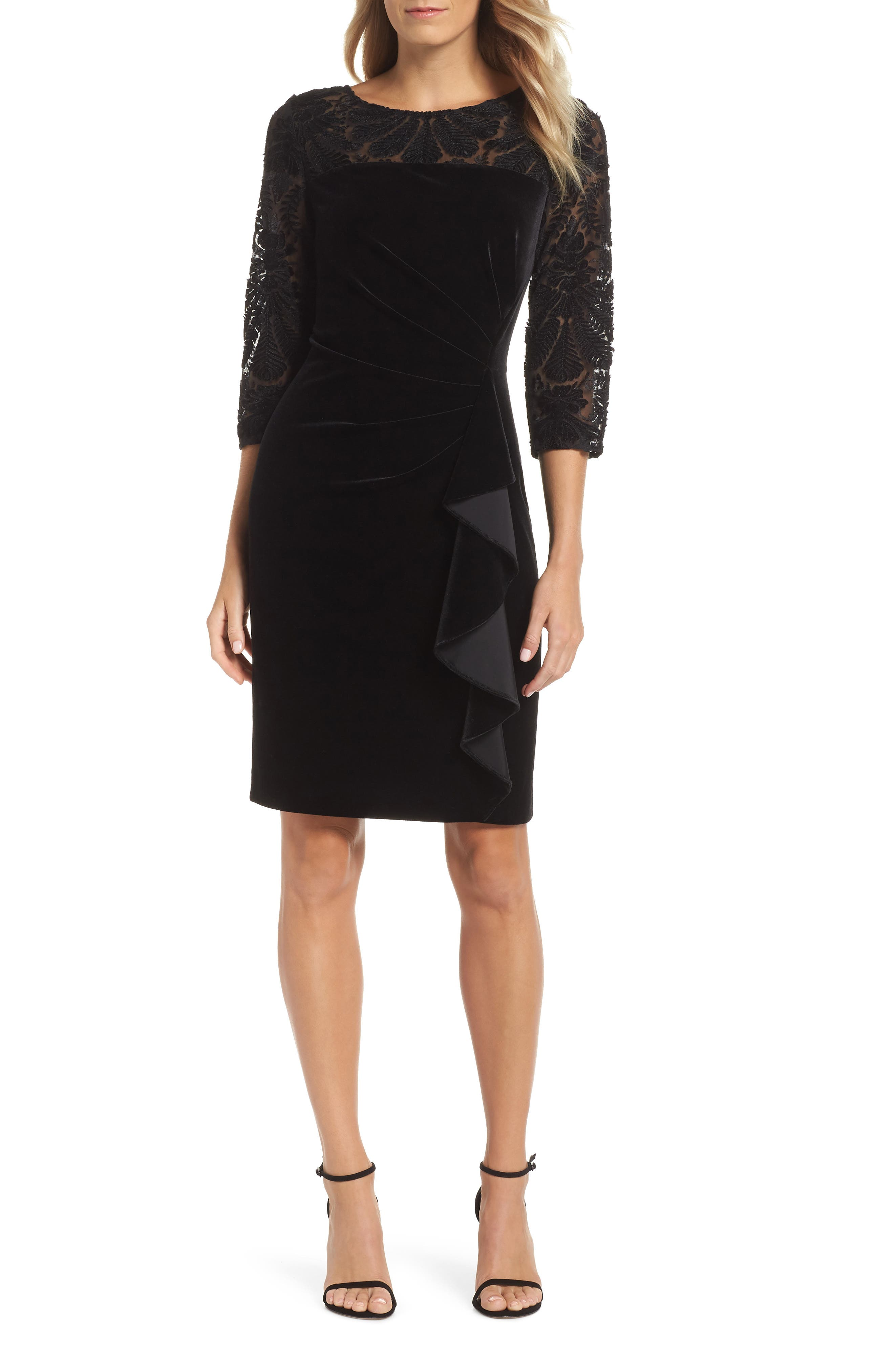 Alex Evenings Velvet Embroidered Sheath Dress, Black