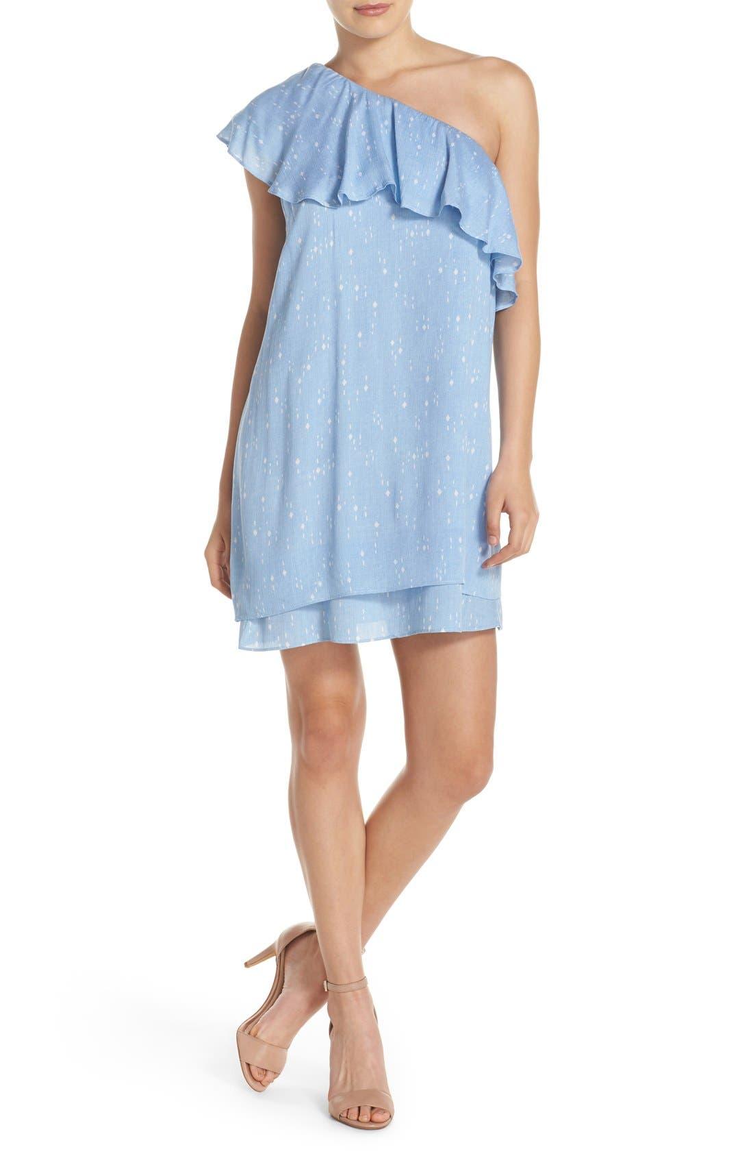 One-Shoulder Ruffle Shift Dress,                         Main,                         color, 454