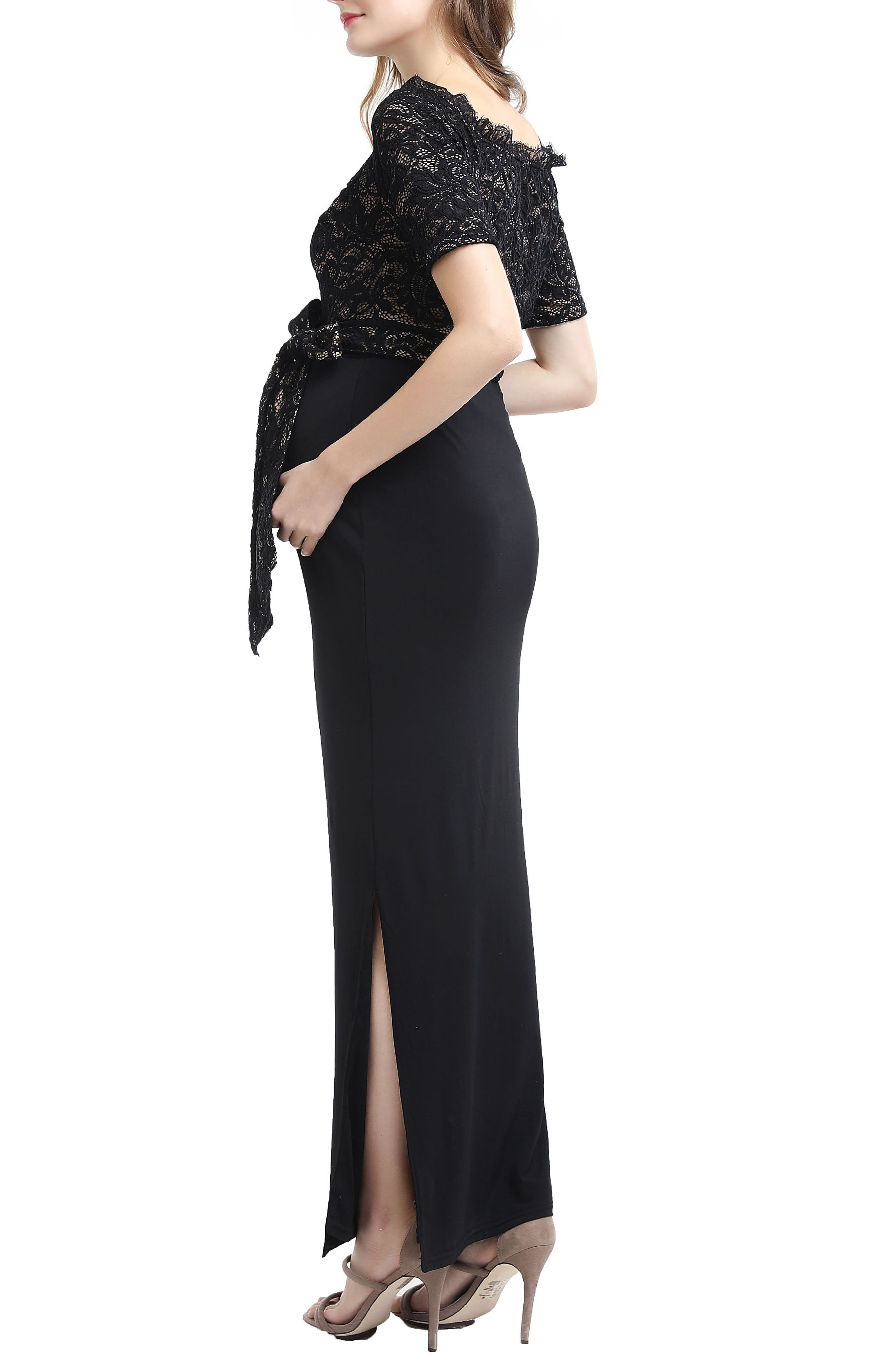 Everly Off the Shoulder Maternity Gown,                             Alternate thumbnail 3, color,                             BLACK