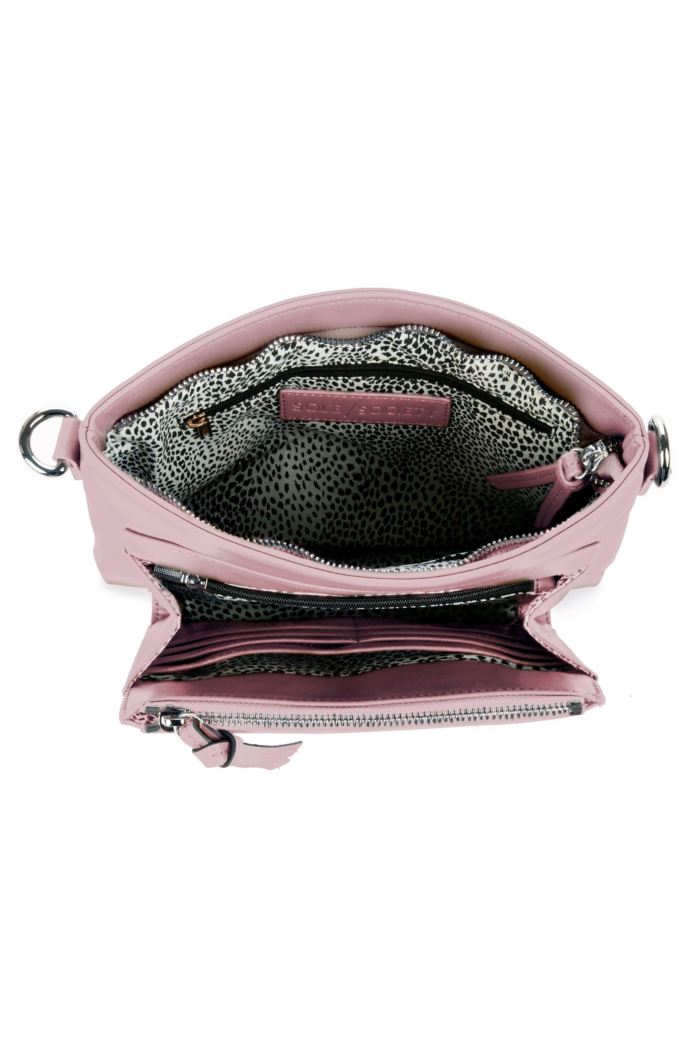 Flat Faux Leather Crossbody Bag,                             Alternate thumbnail 9, color,