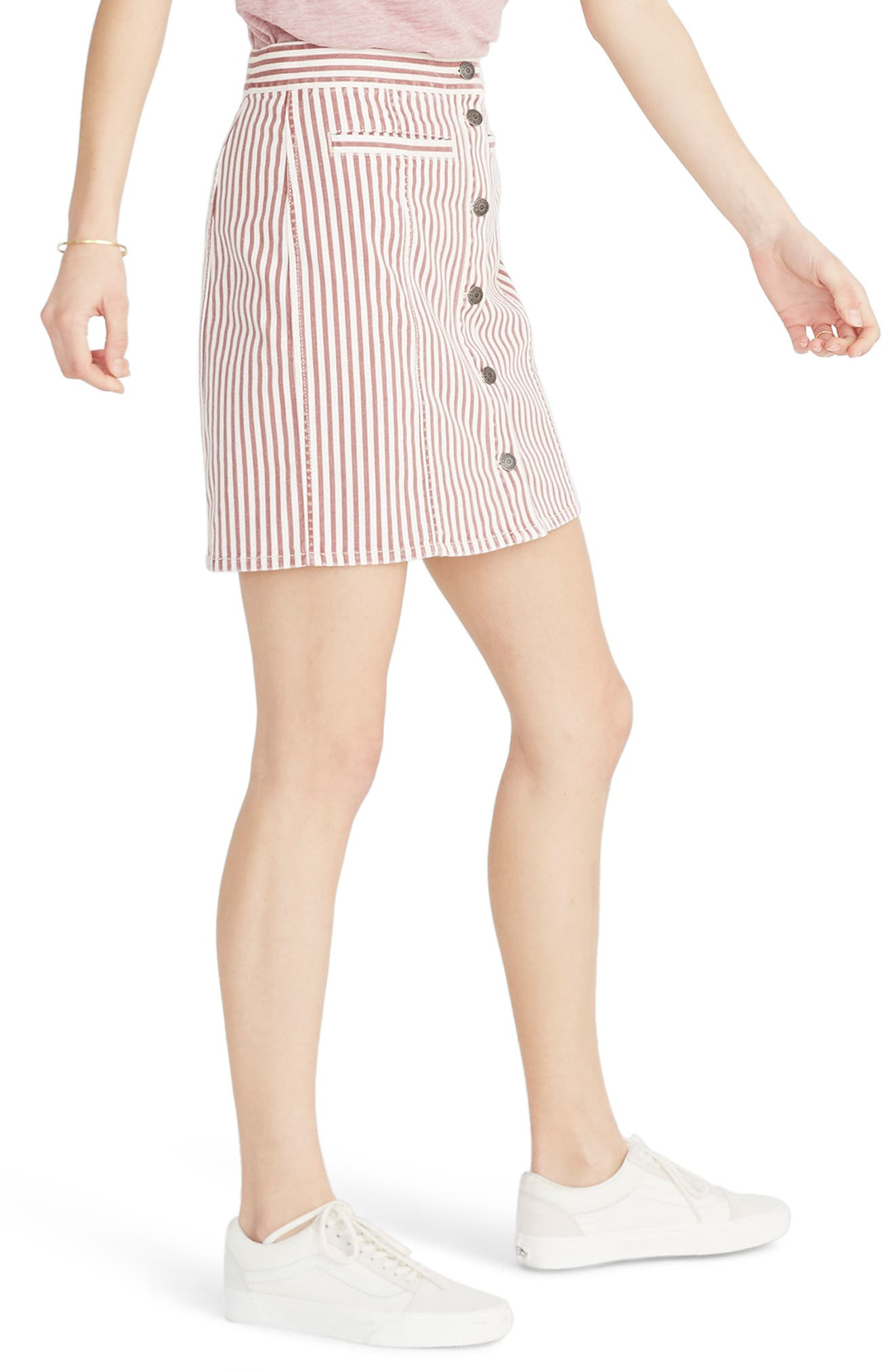 Stretch Denim Straight Miniskirt,                             Alternate thumbnail 3, color,                             LUCA STRIPE