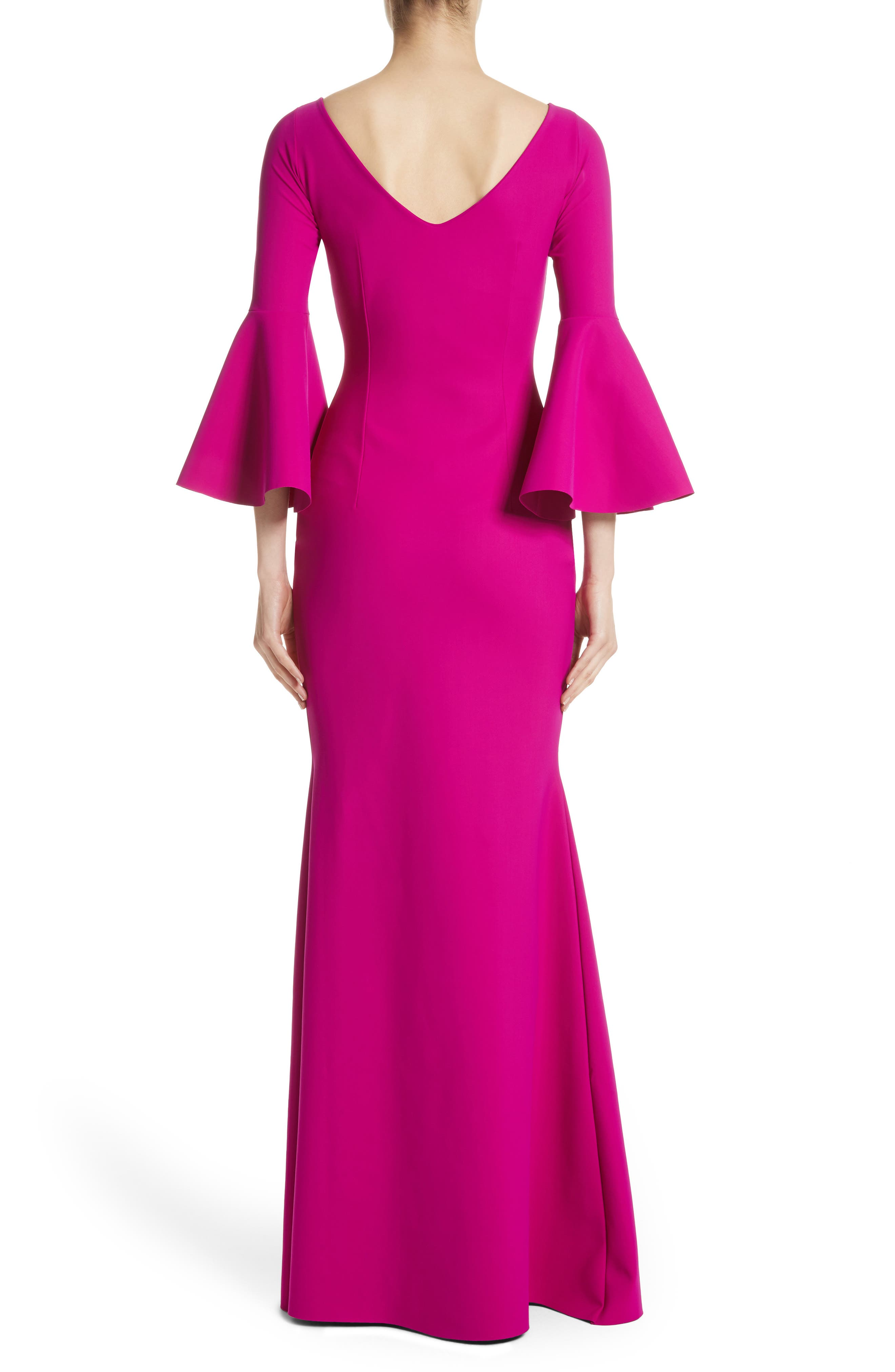 Iva Bell Sleeve Gown,                             Alternate thumbnail 2, color,                             CYCLAMEN/ MAGENTA