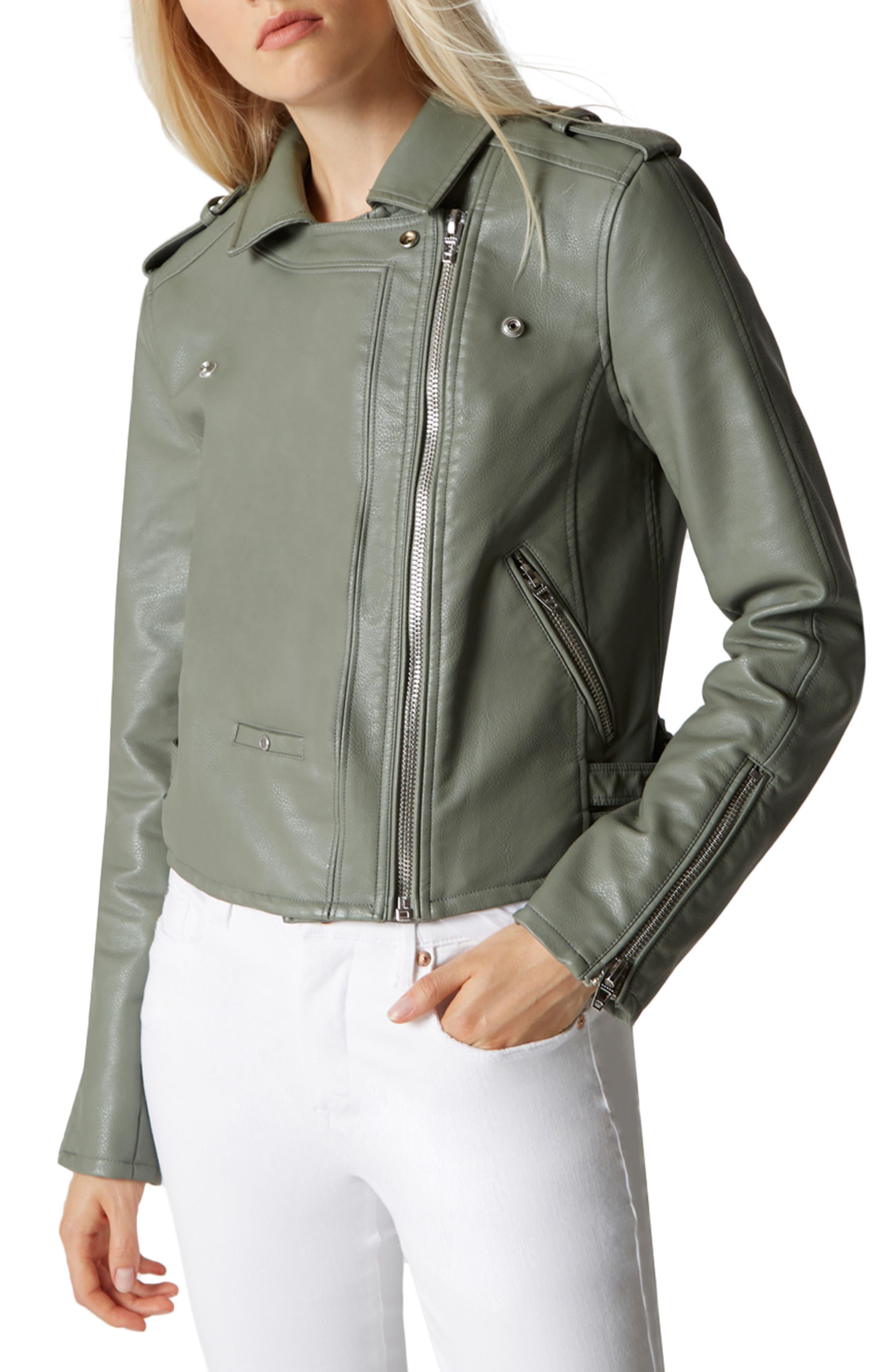Faux Leather Moto Jacket,                             Alternate thumbnail 3, color,                             300