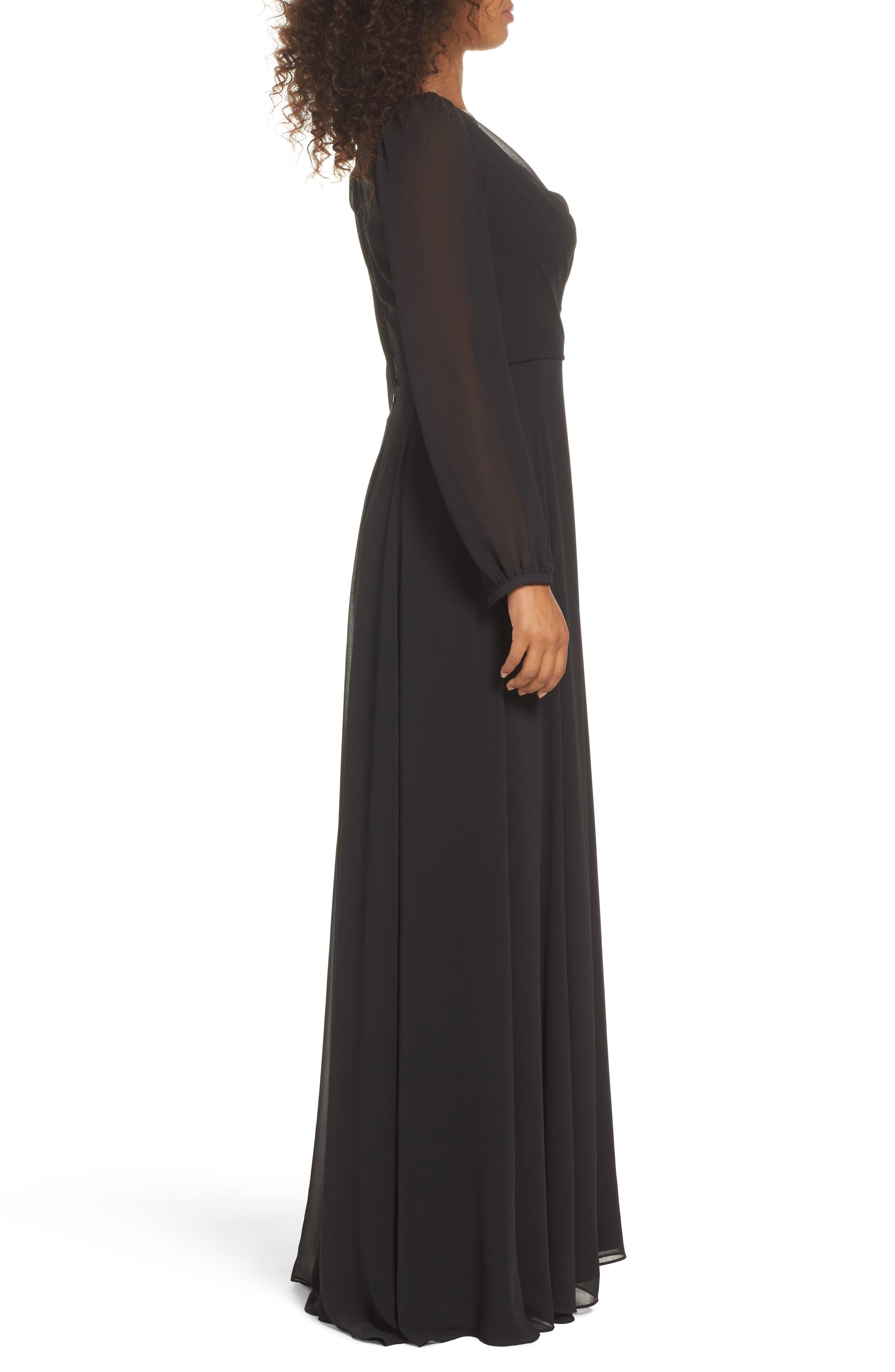 Donna Luxe Chiffon Surplice A-Line Gown,                             Alternate thumbnail 3, color,                             001