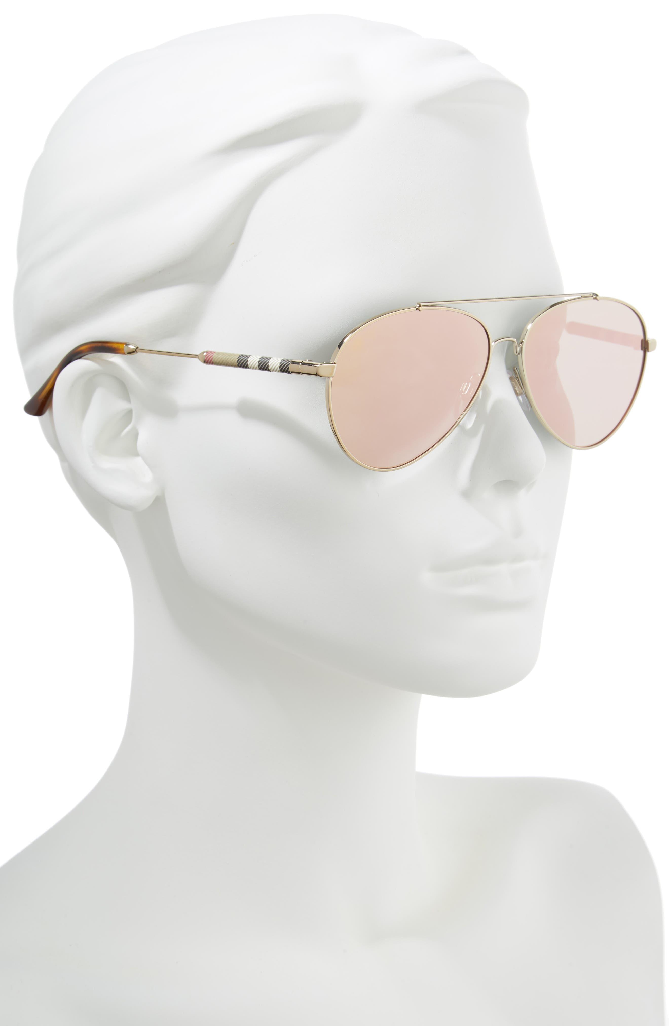 57mm Mirrored Aviator Sunglasses,                             Alternate thumbnail 2, color,                             031