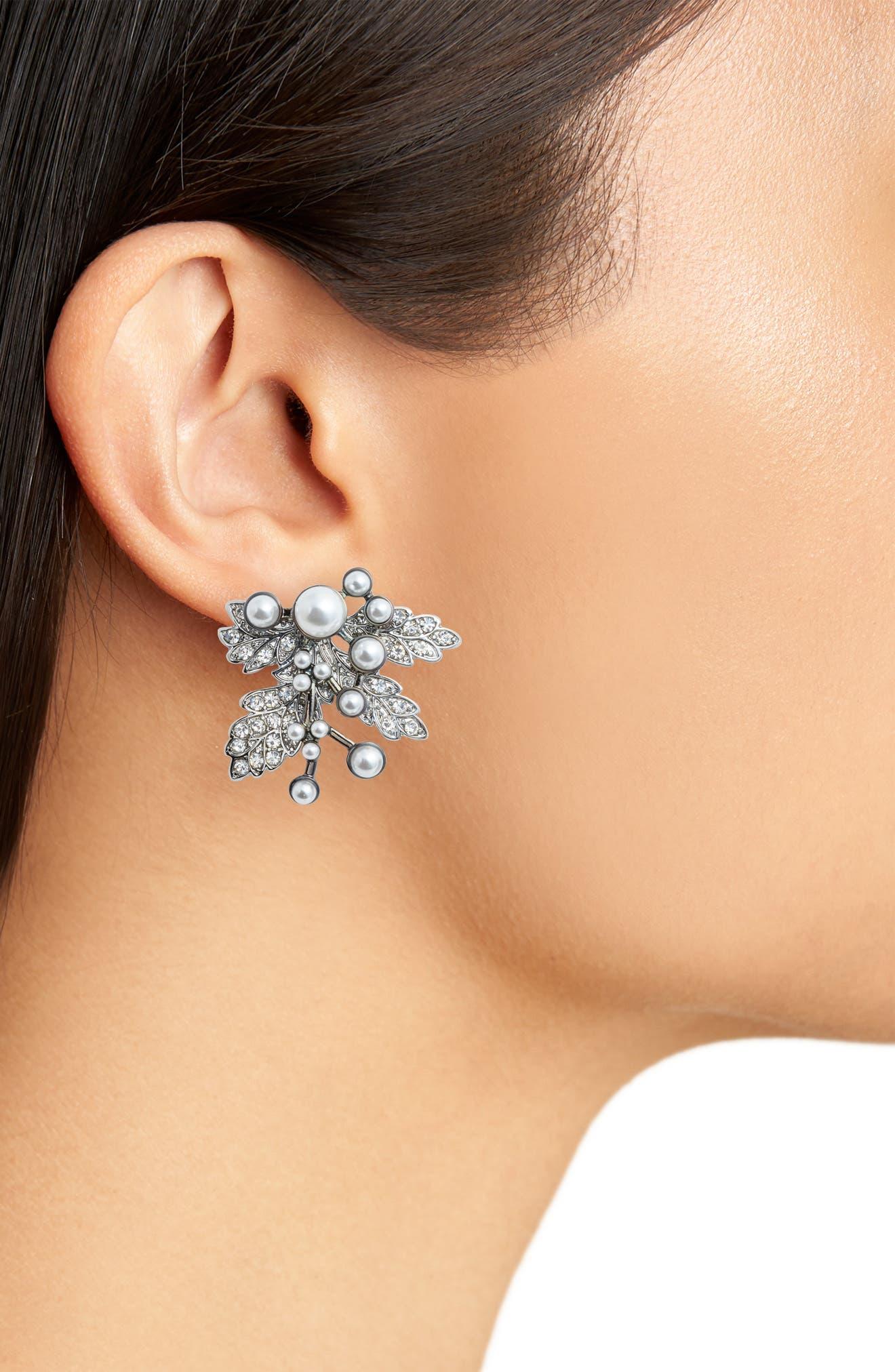 Imitation Pearl Crystal Leaf Earrings,                             Alternate thumbnail 2, color,                             SILVER